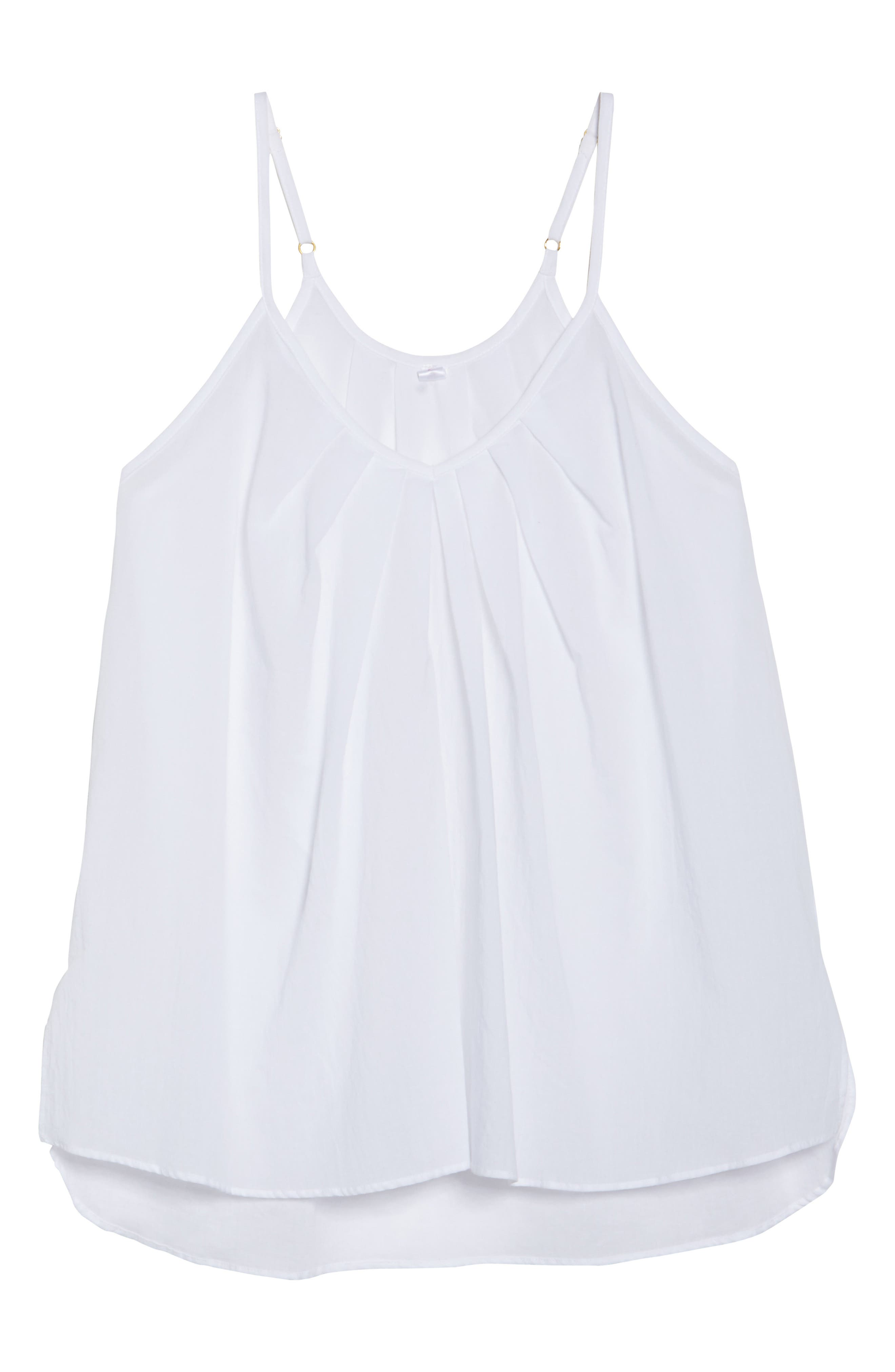 Cotton Voile Pleated Camisole,                             Alternate thumbnail 6, color,                             100