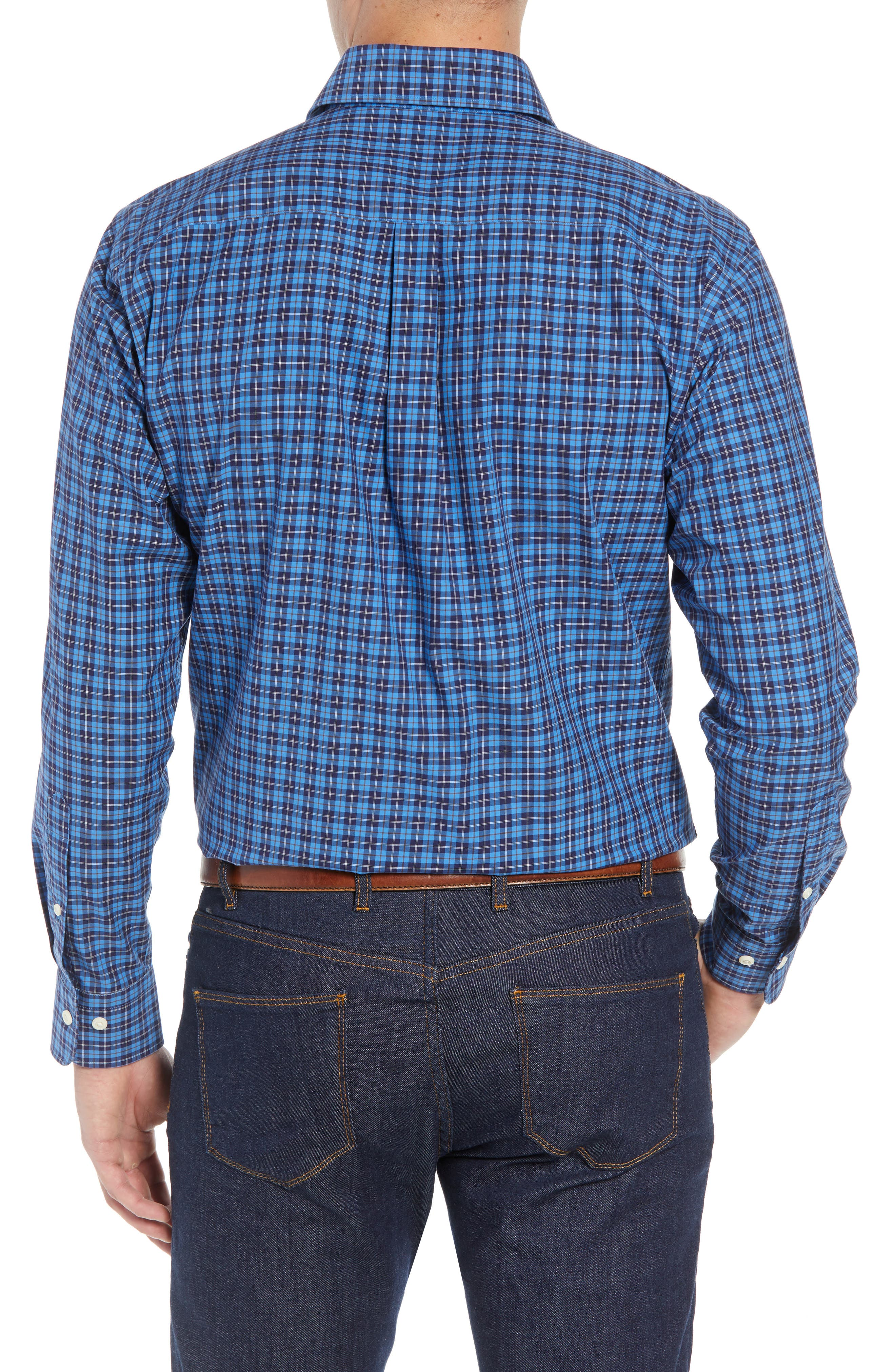 Northgate Plaid Sport Shirt,                             Alternate thumbnail 3, color,                             MARINA BLUE