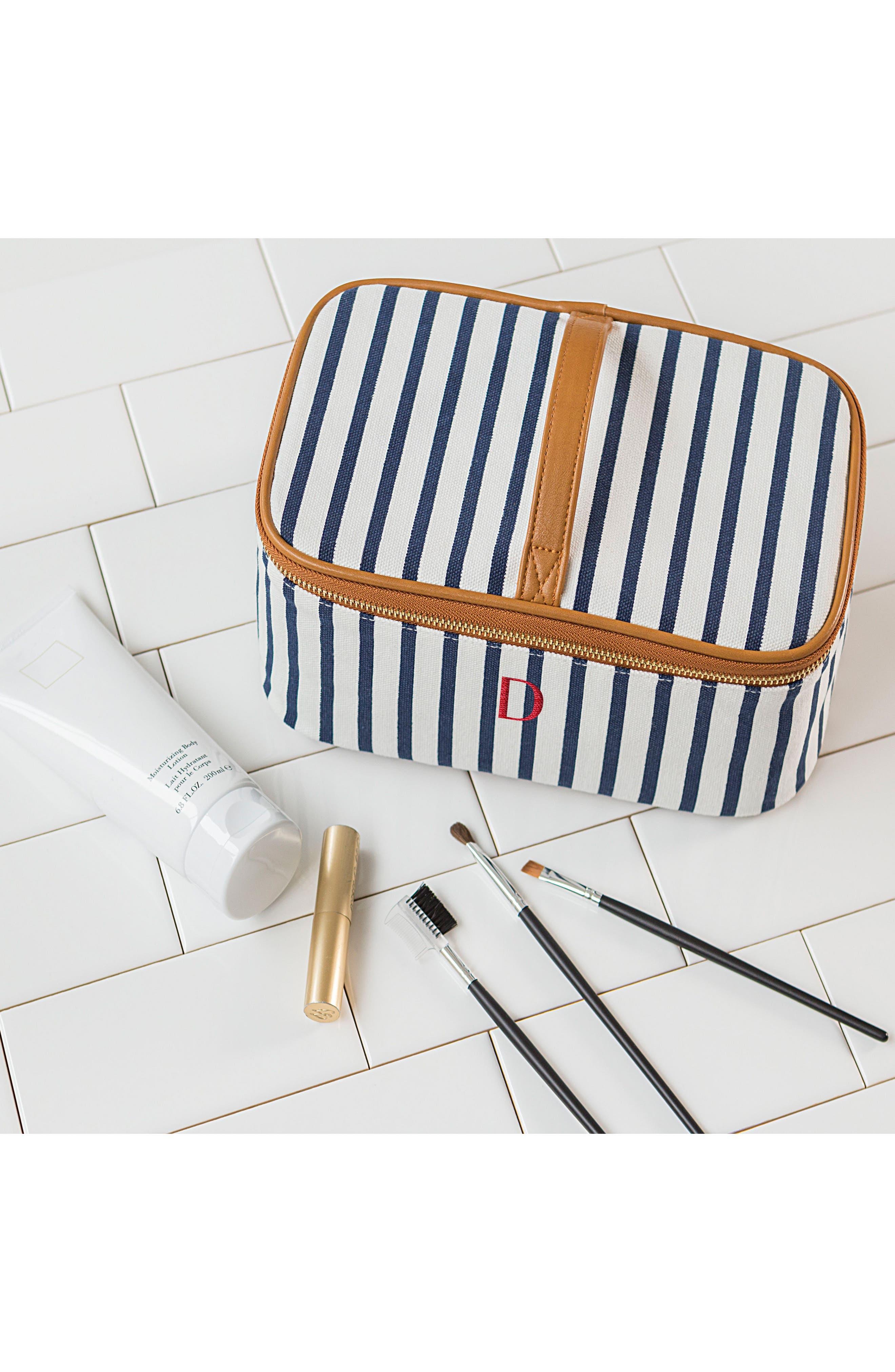 Monogram Stripe Canvas Cosmetics Case,                             Alternate thumbnail 7, color,                             BLUE