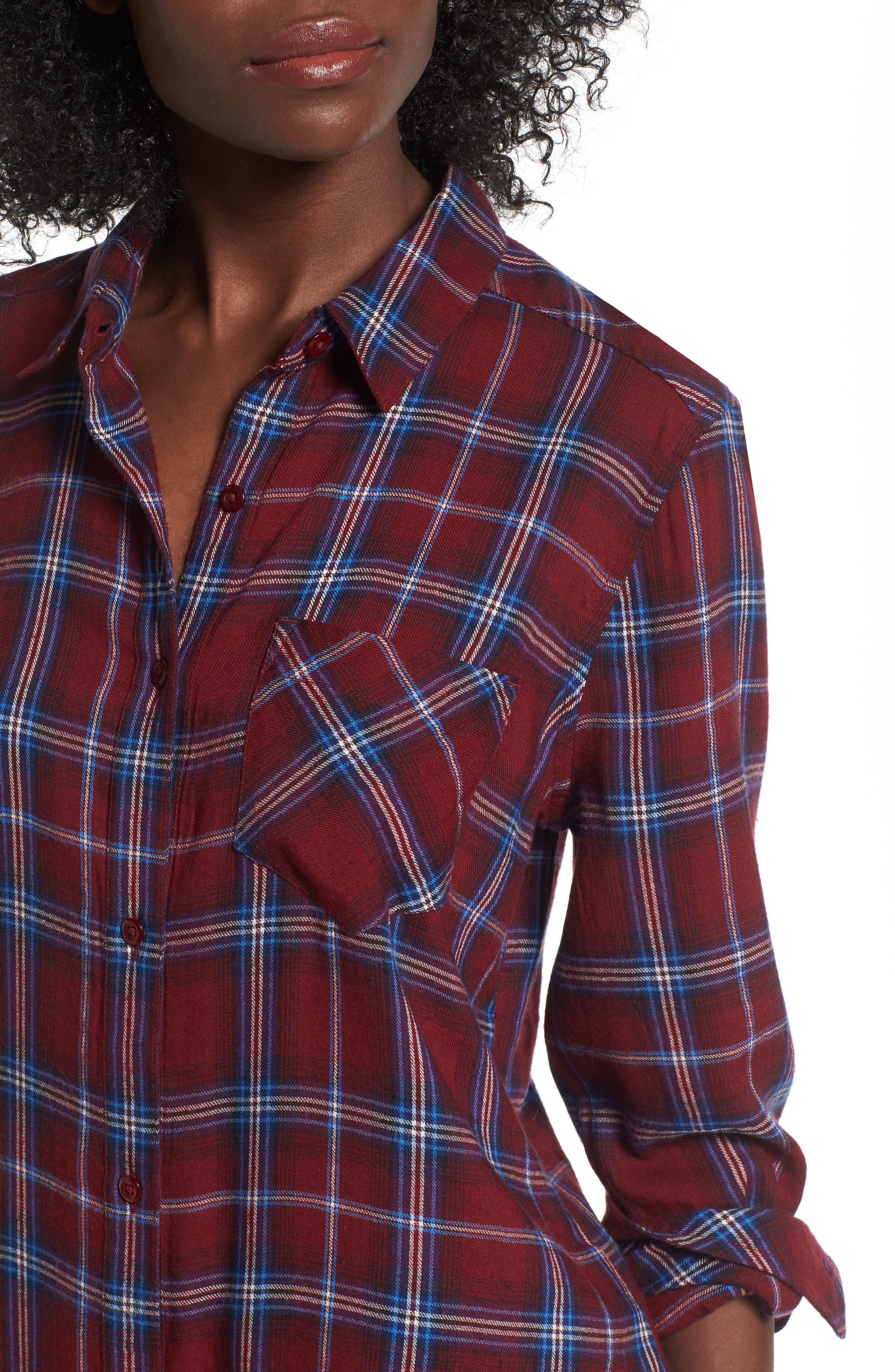 Plaid Cotton Blend Shirt,                             Alternate thumbnail 18, color,