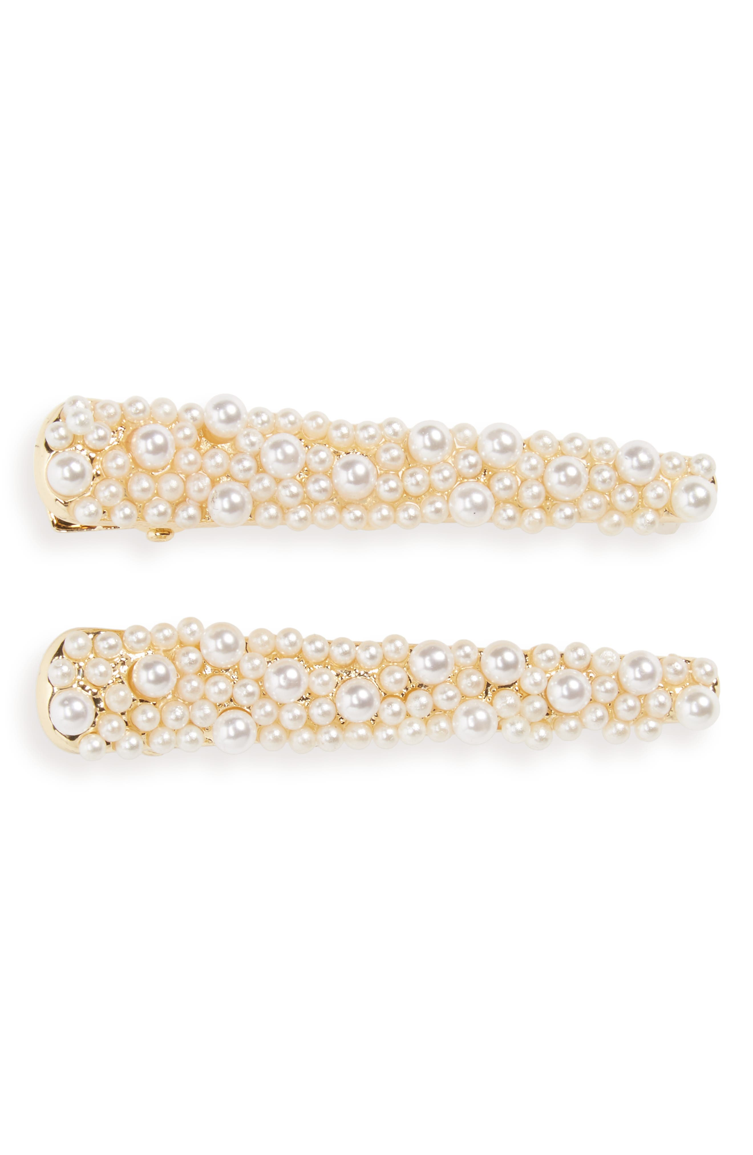 Set of 2 Imitation Pearl Hair Clips,                             Main thumbnail 1, color,                             710