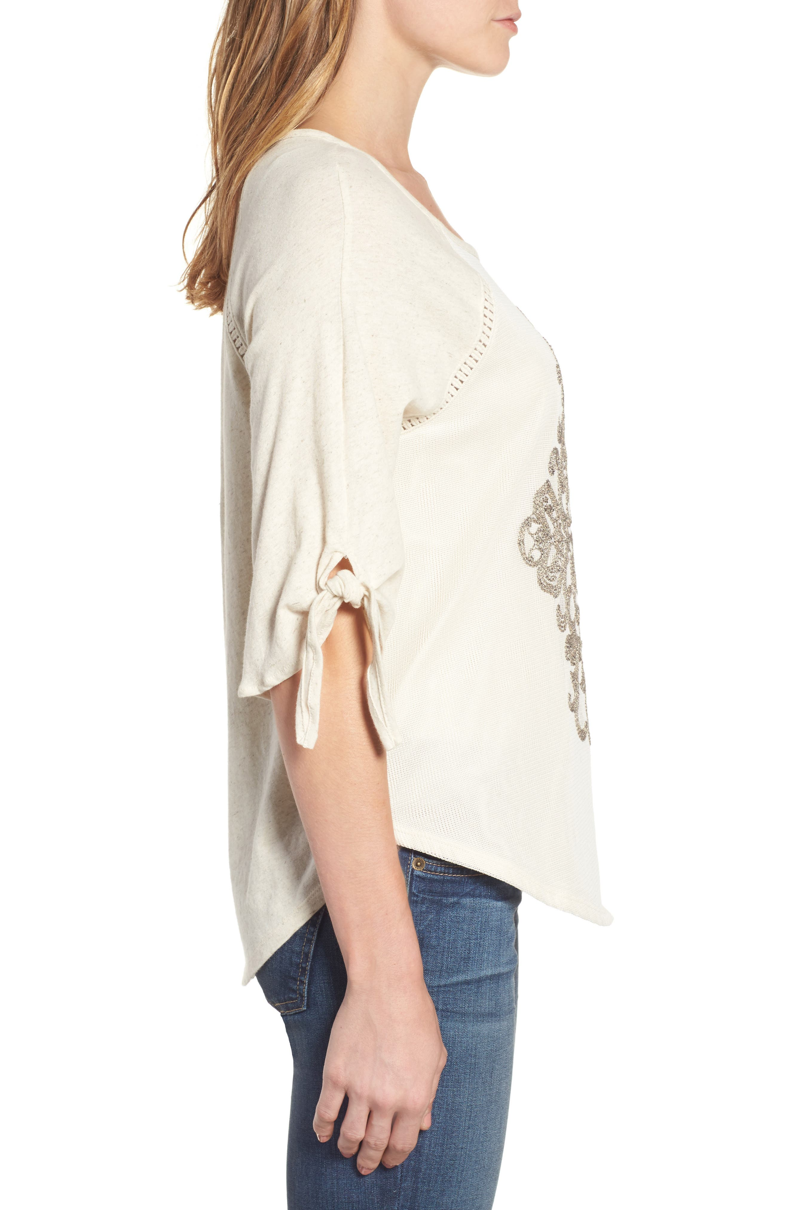Embroidered Mesh Front Top,                             Alternate thumbnail 3, color,                             279