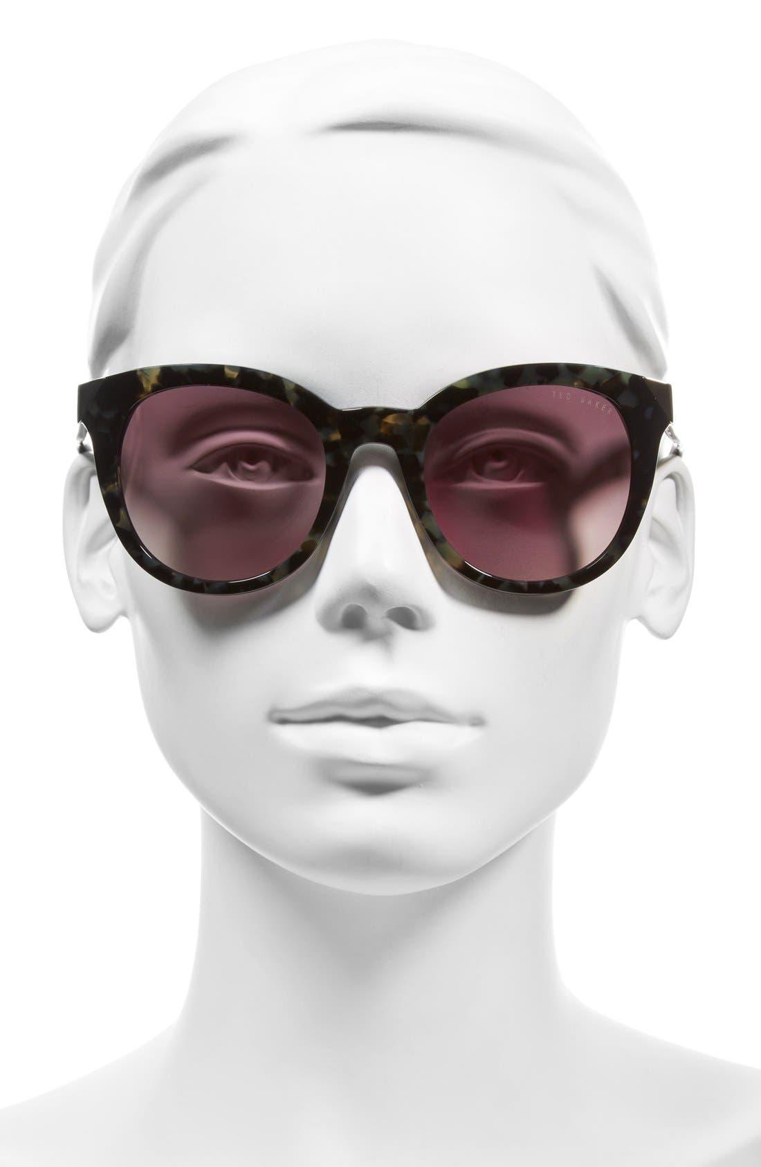 52mm Metal Accent Sunglasses,                             Alternate thumbnail 4, color,