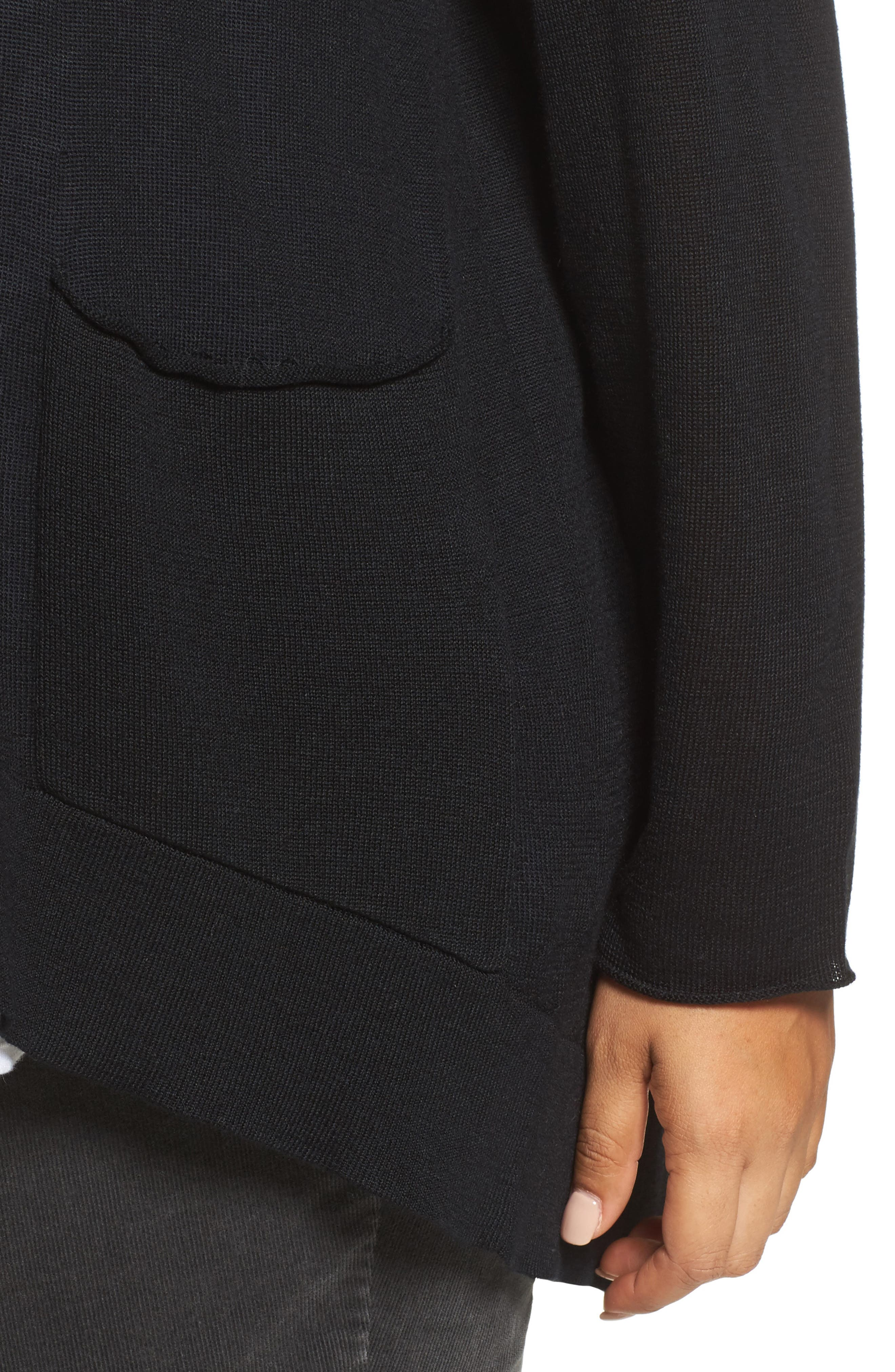 Slouchy Tencel<sup>®</sup> Blend Cardigan,                             Alternate thumbnail 4, color,                             001