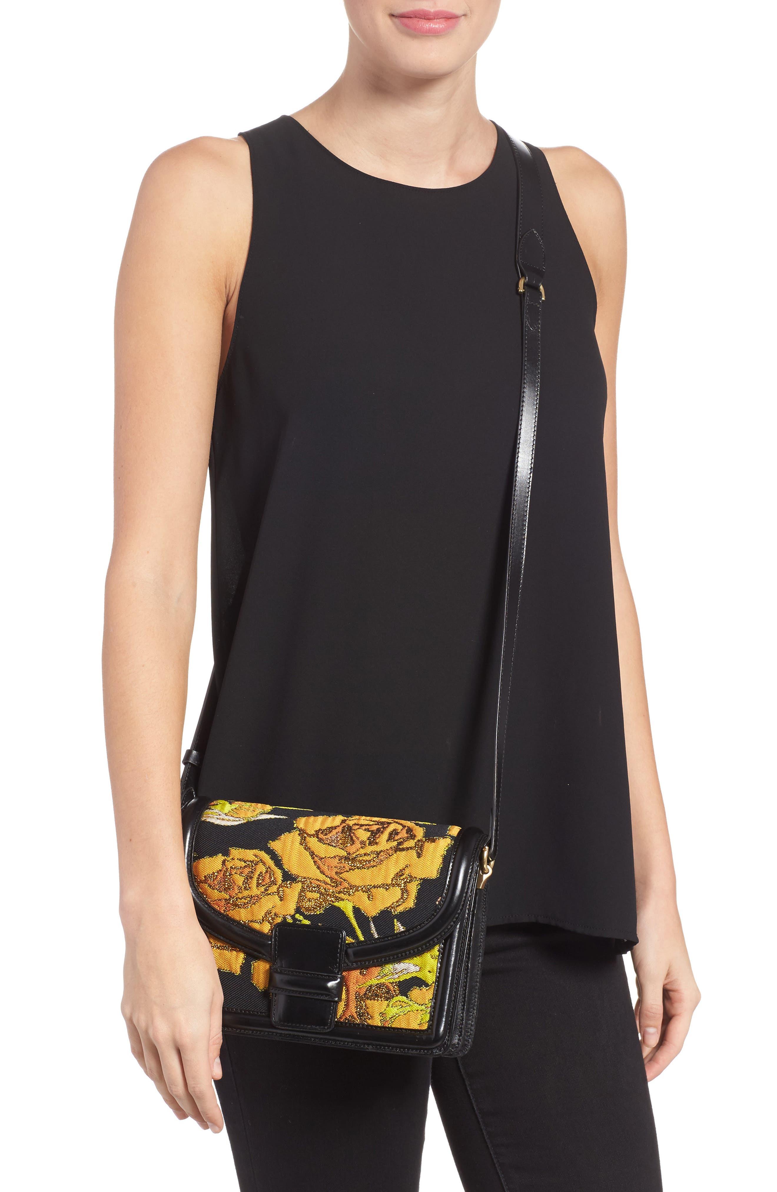 DRIES VAN NOTEN,                             Floral Jacquard & Leather Crossbody Bag,                             Alternate thumbnail 2, color,                             700