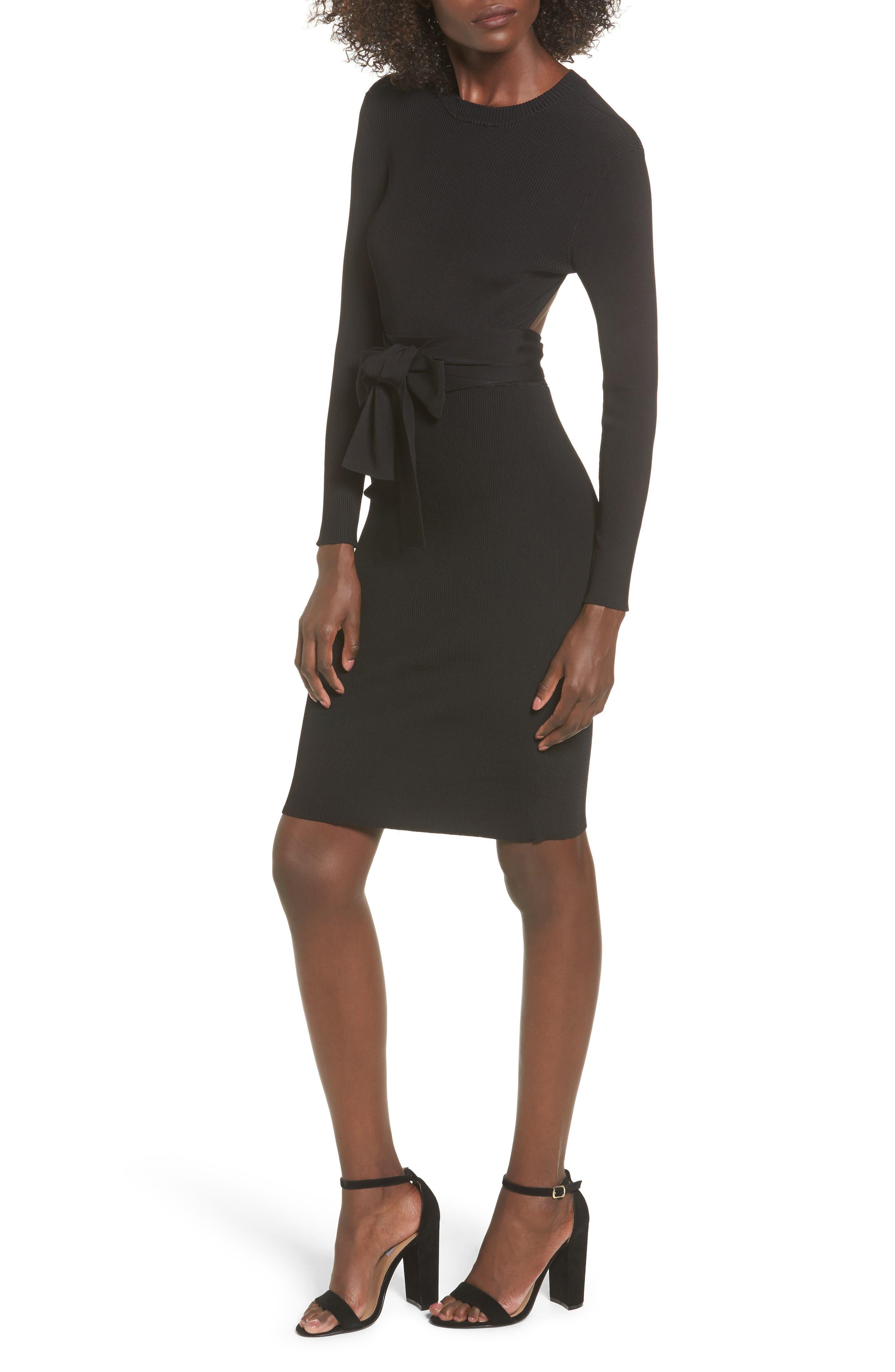 Desiree Cutout Ribbed Body-Con Dress,                             Main thumbnail 1, color,                             001