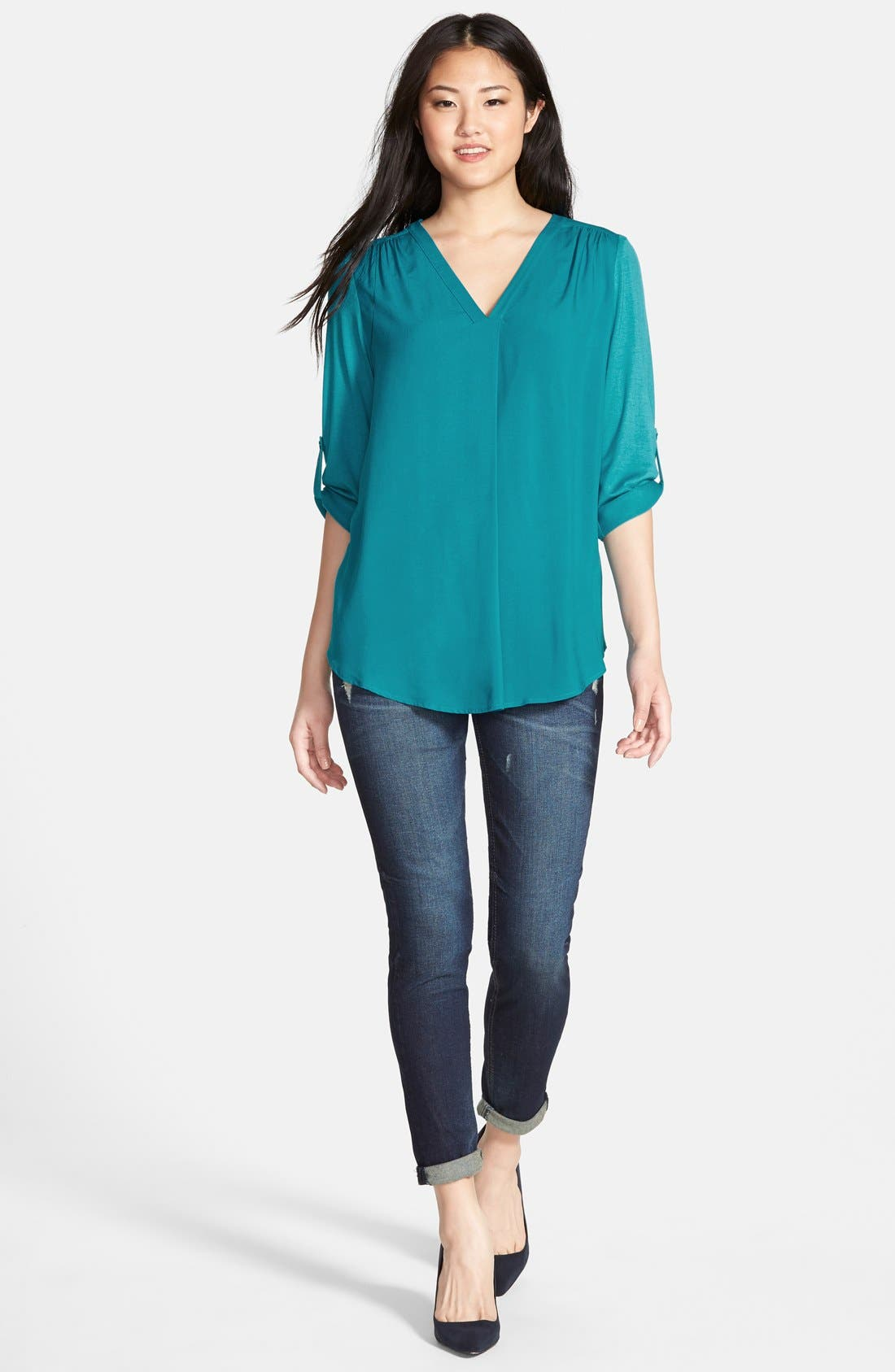 Mixed Media V-Neck Tunic,                             Alternate thumbnail 92, color,