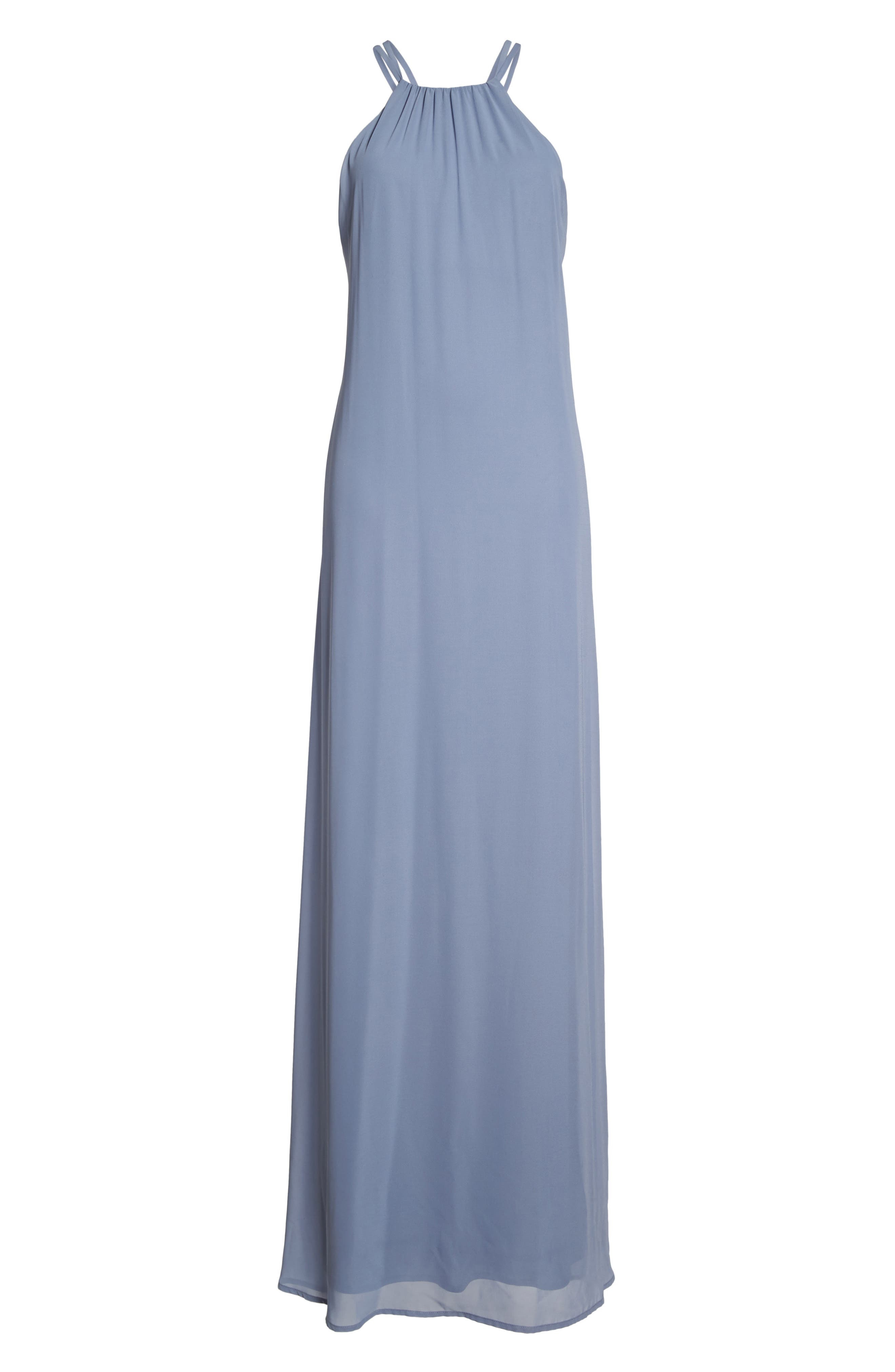 Strappy High Neck Chiffon Gown,                             Alternate thumbnail 6, color,                             020
