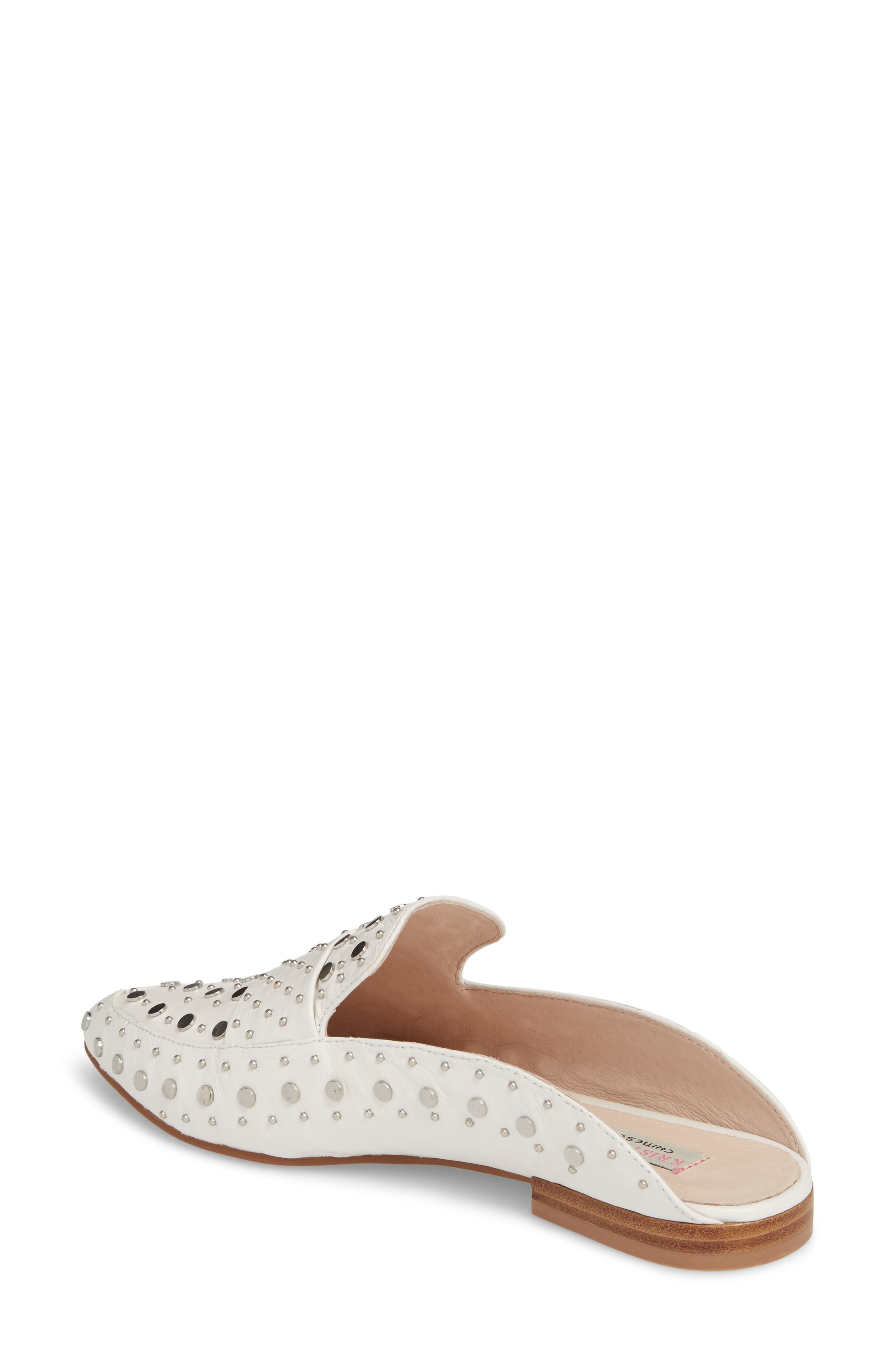 Charlie Studded Loafer Mule,                             Alternate thumbnail 2, color,                             WHITE LEATHER