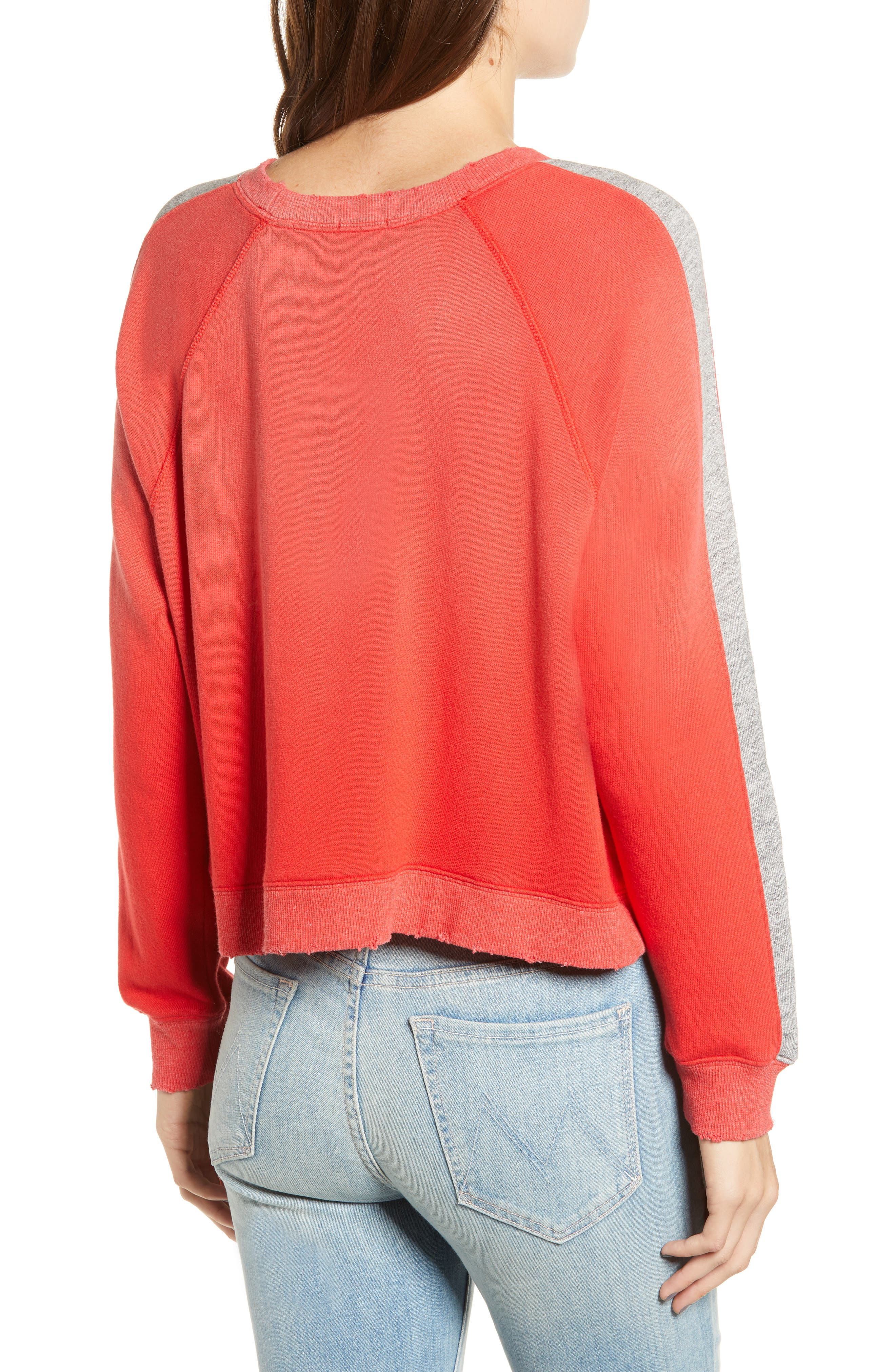 Varsity Stripe Sweatshirt,                             Alternate thumbnail 2, color,                             ROUGE