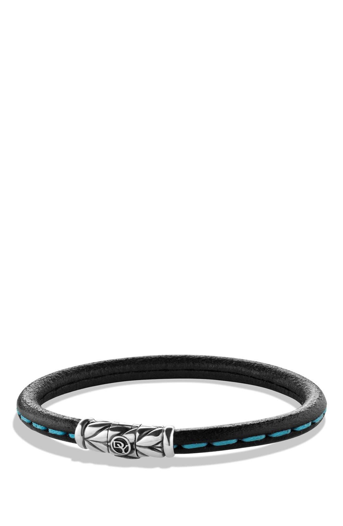 'Chevron' Leather Bracelet,                         Main,                         color, 001