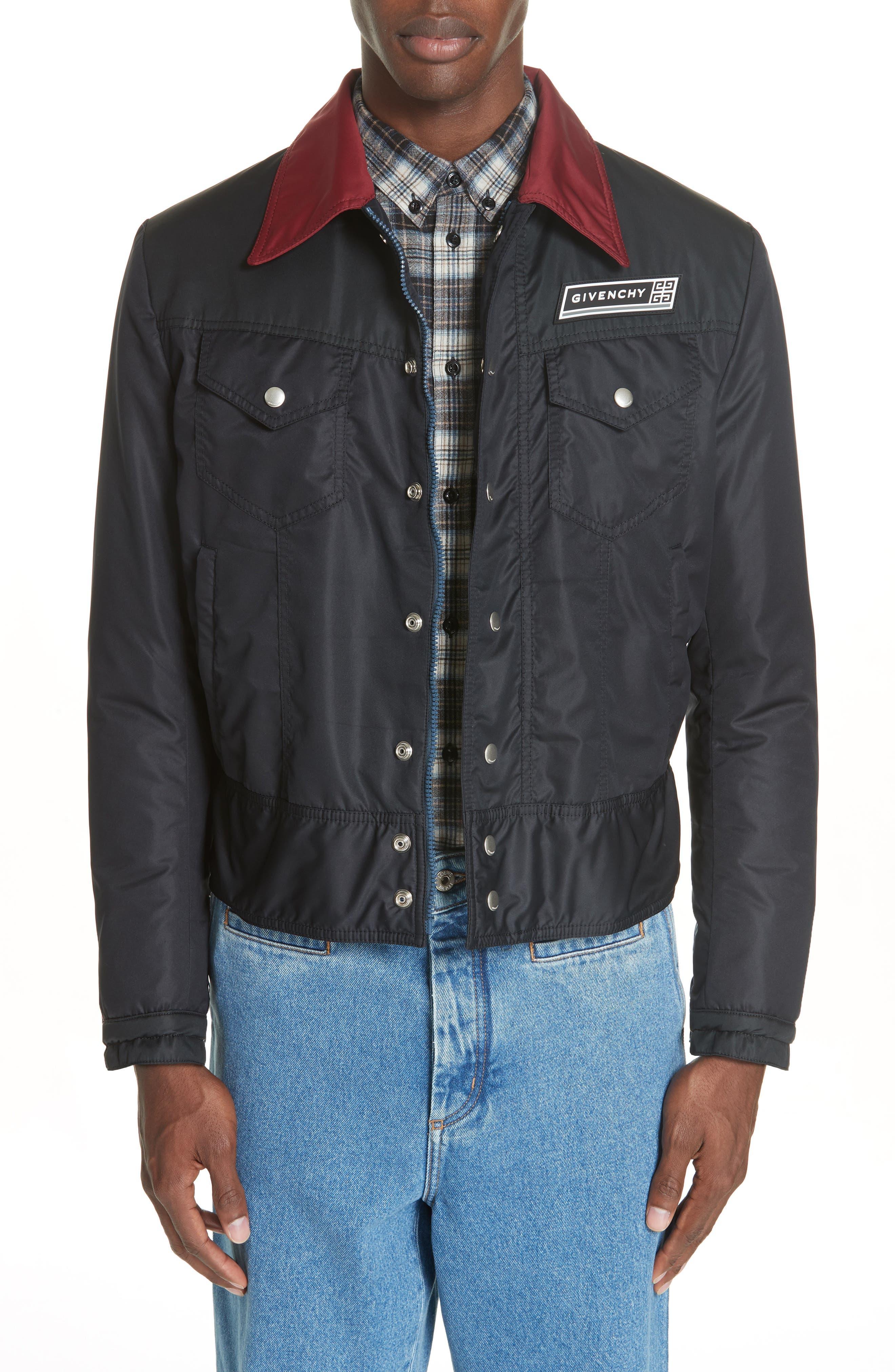 Trucker Jacket,                         Main,                         color, DARK BLUE