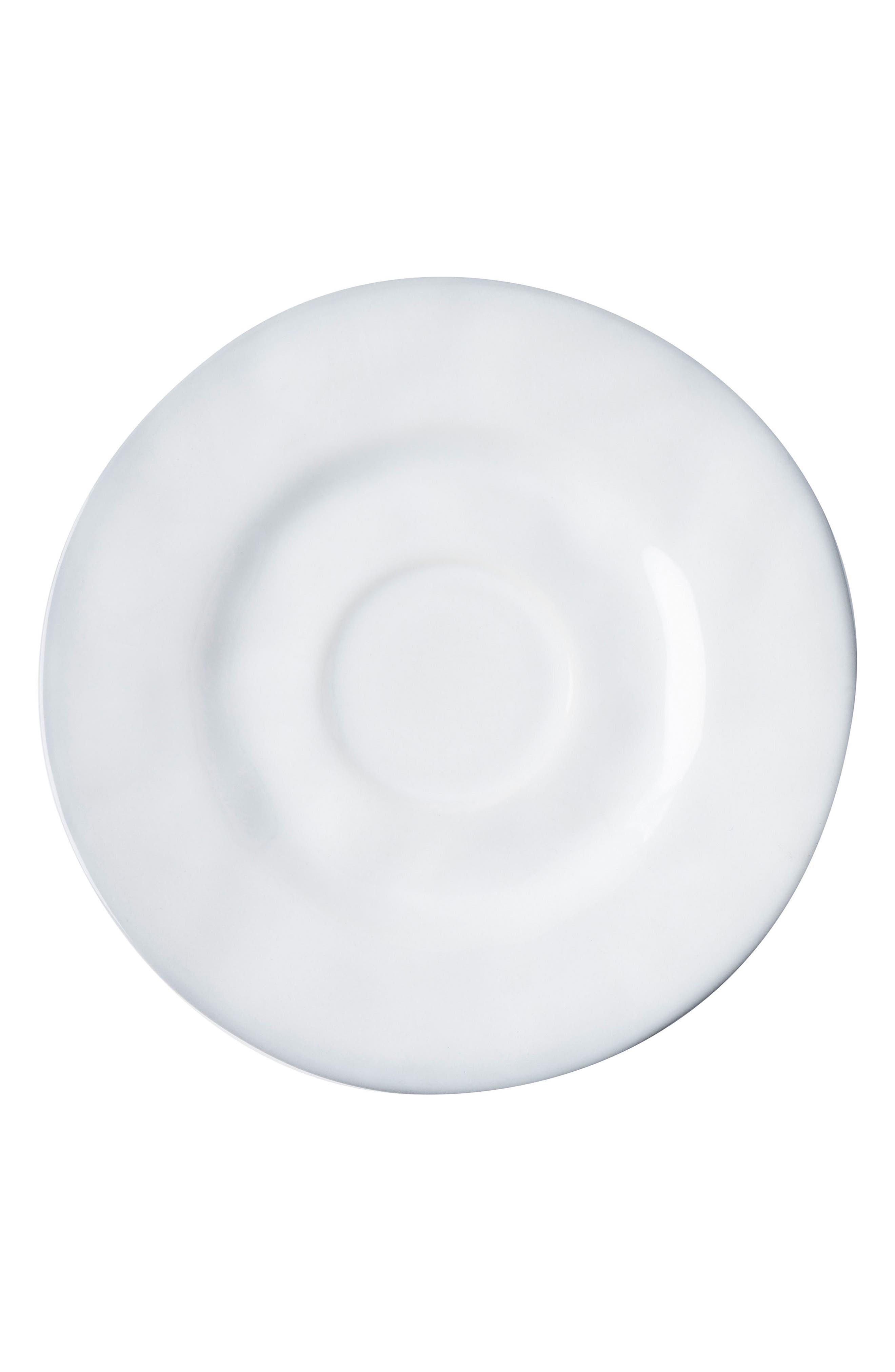 Quotidien White Truffle Ceramic Saucer,                             Main thumbnail 1, color,                             WHITE TRUFFLE