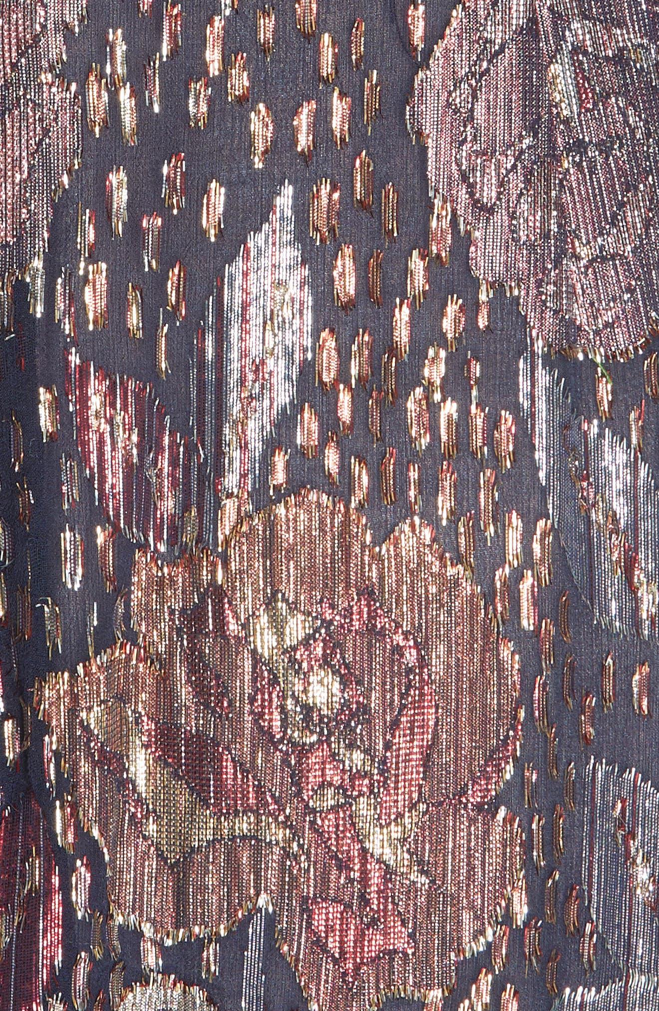 REBECCA TAYLOR,                             Velvet and Metallic Tapestry Dress,                             Alternate thumbnail 5, color,                             500