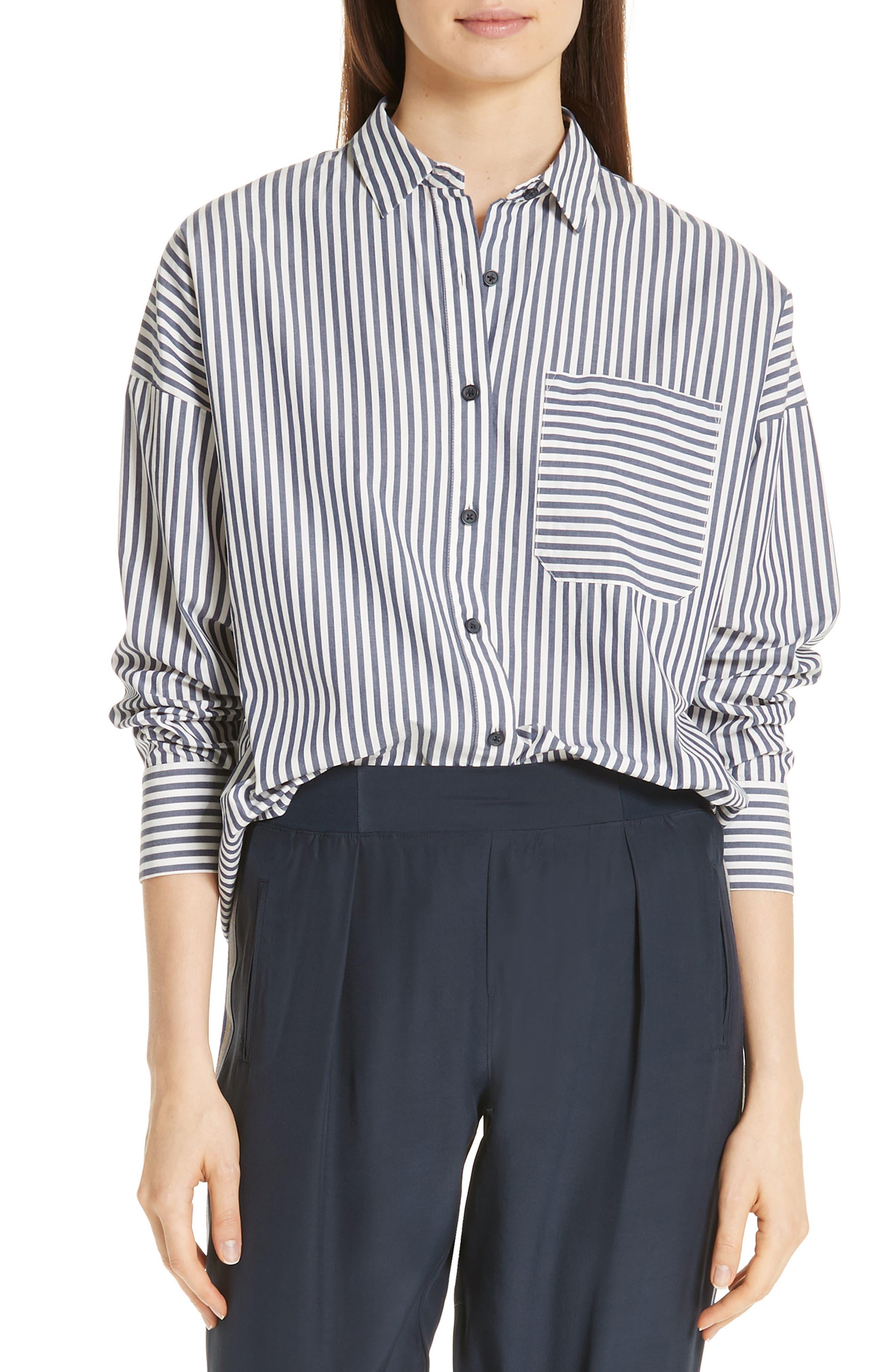 Railroad Stripe Boyfriend Shirt,                             Main thumbnail 1, color,                             NAVY/ WHITE