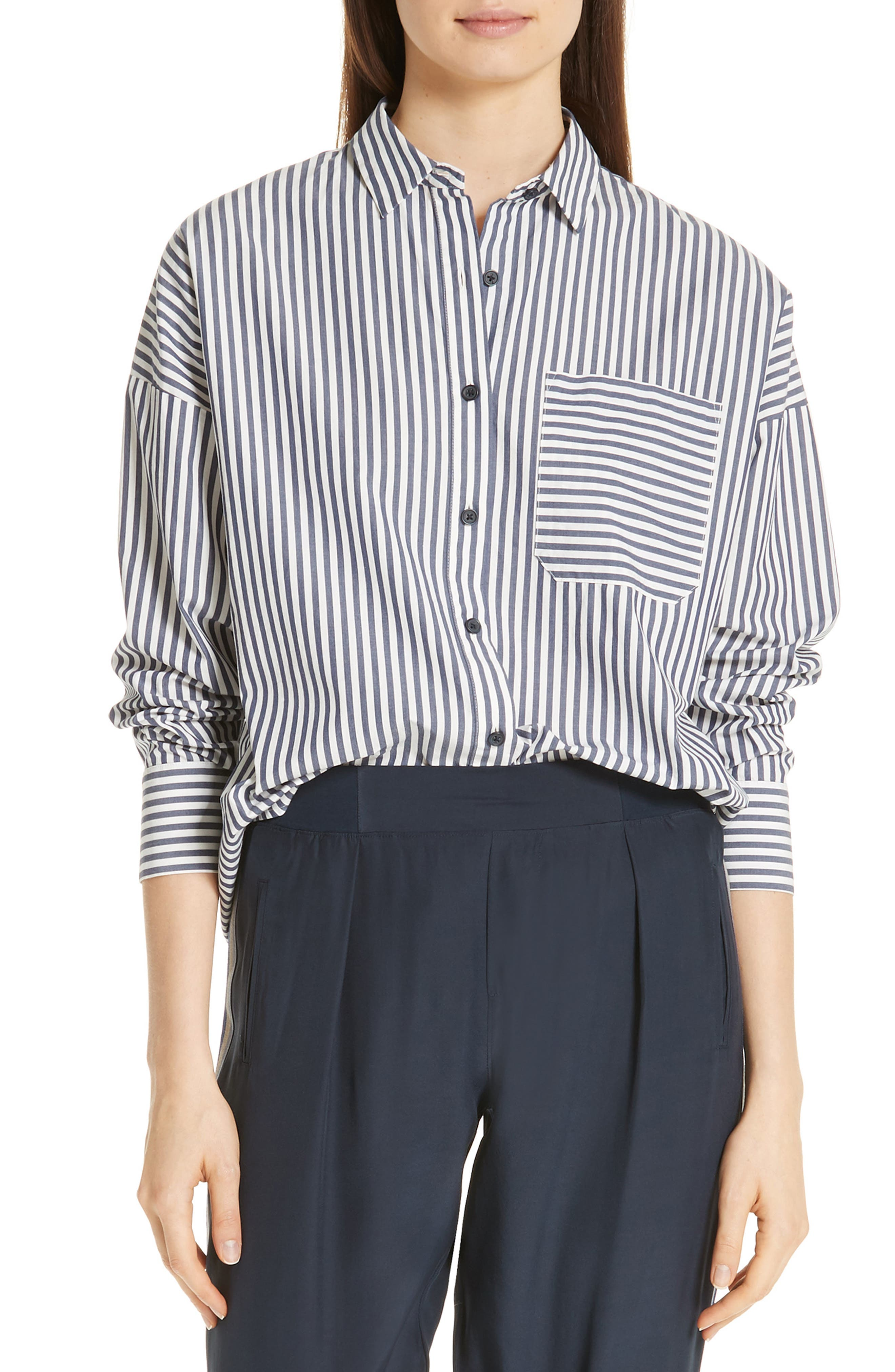 Railroad Stripe Boyfriend Shirt,                         Main,                         color, NAVY/ WHITE