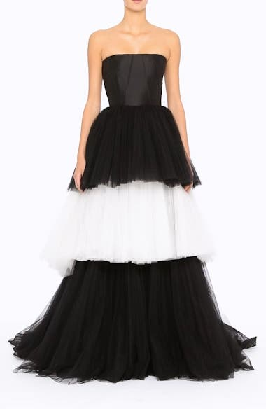 Strapless Layered Tulle Gown, video thumbnail