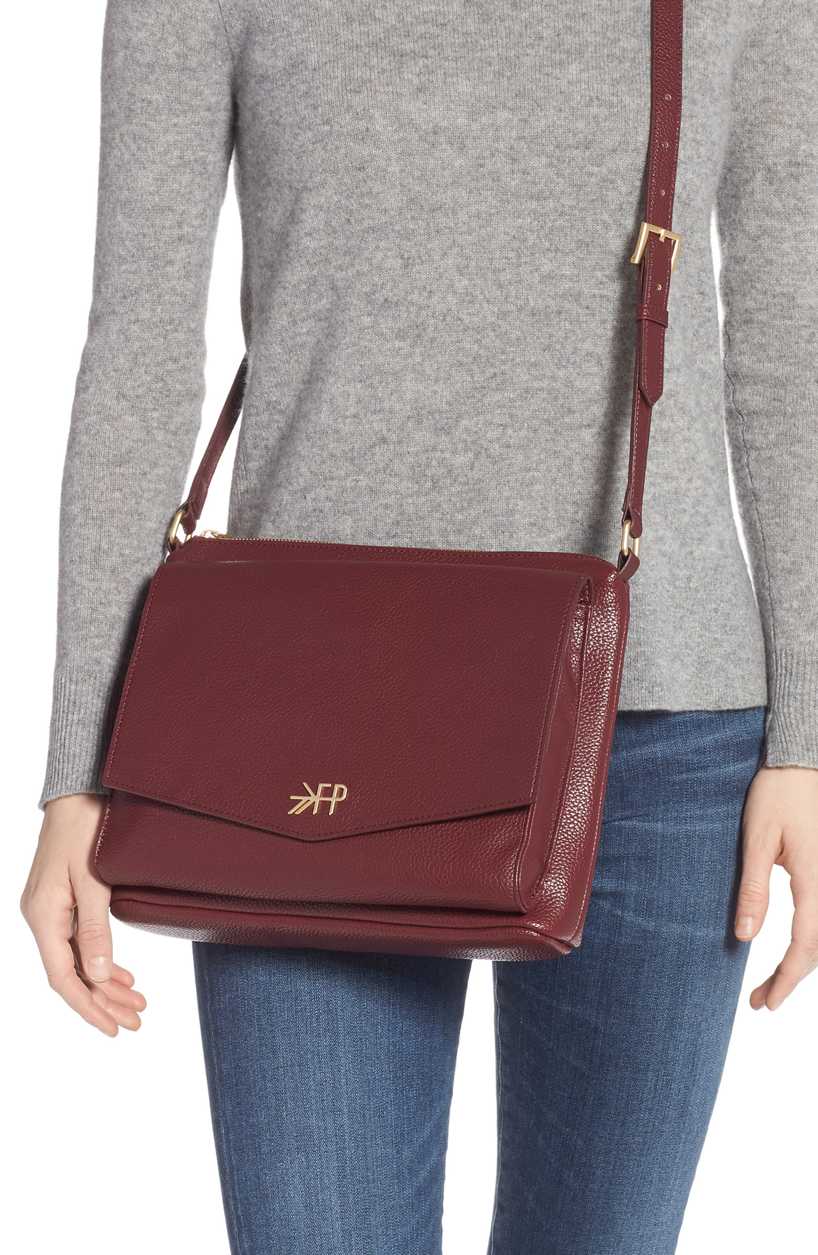 FRESHLY PICKED,                             Classic Faux Leather Crossbody Diaper Bag,                             Alternate thumbnail 2, color,                             BURGUNDY