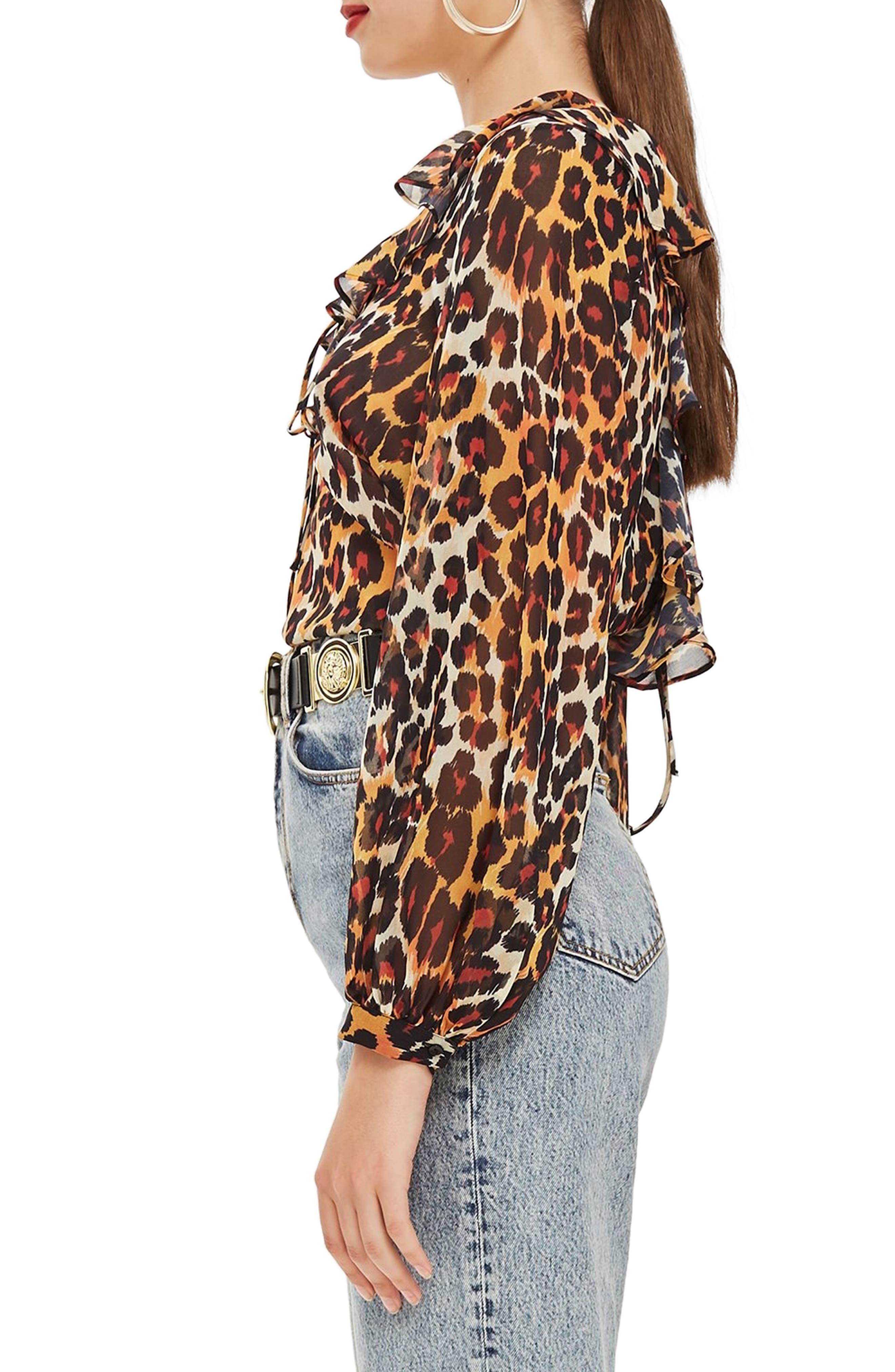 Leopard Print Ruffle Blouse,                             Alternate thumbnail 3, color,                             BROWN MULTI