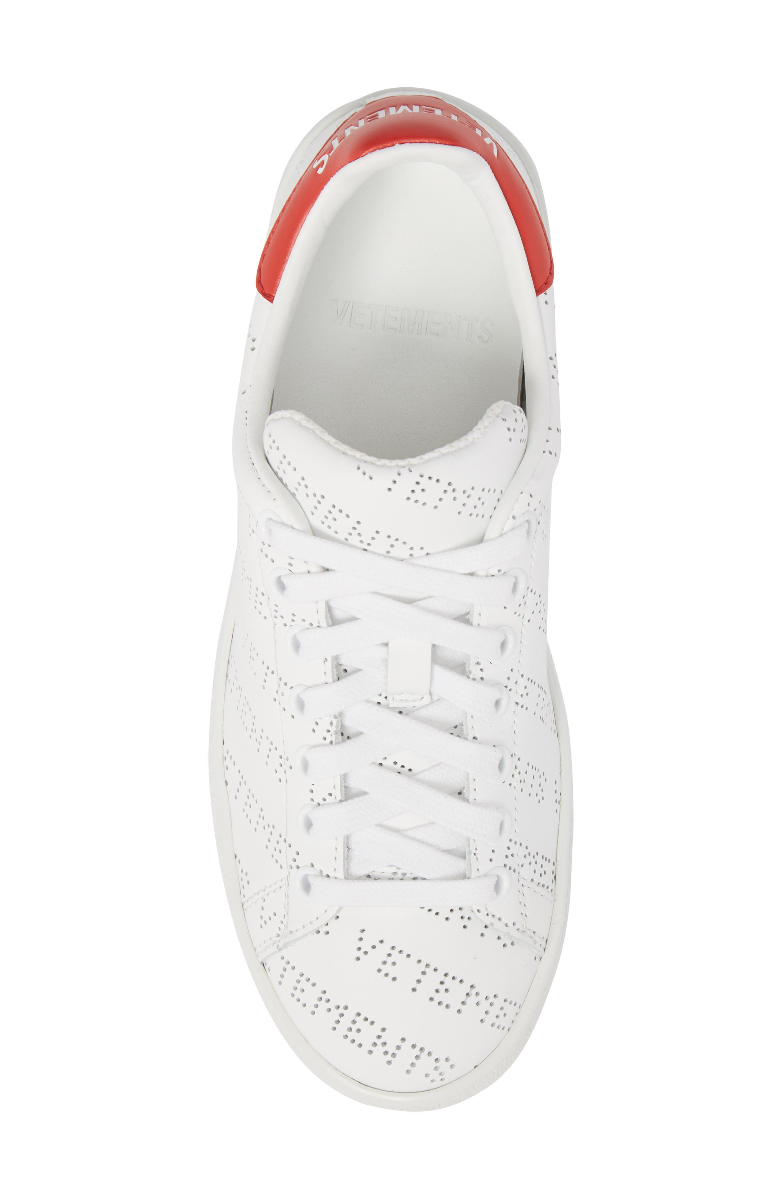 Perforated Sneaker,                             Alternate thumbnail 5, color,                             WHITE RED