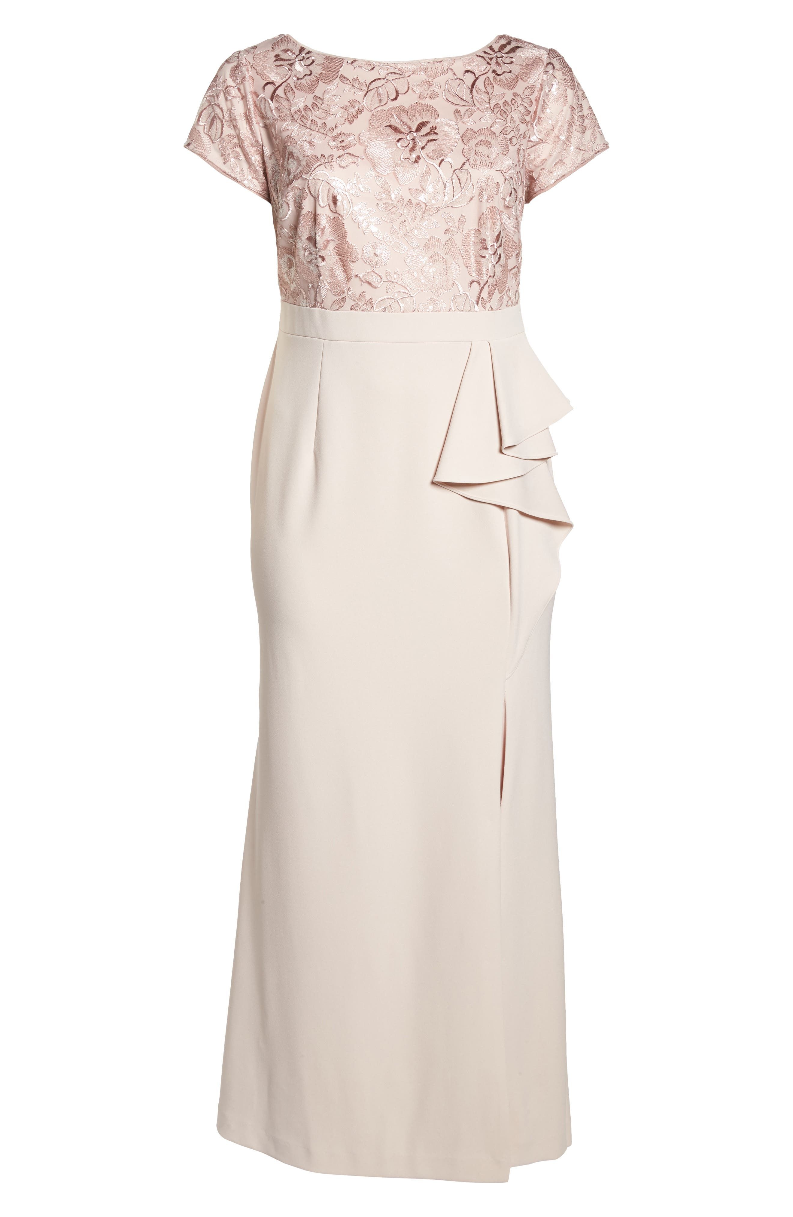 Sequin Embroidered Bodice Gown,                             Alternate thumbnail 6, color,                             684