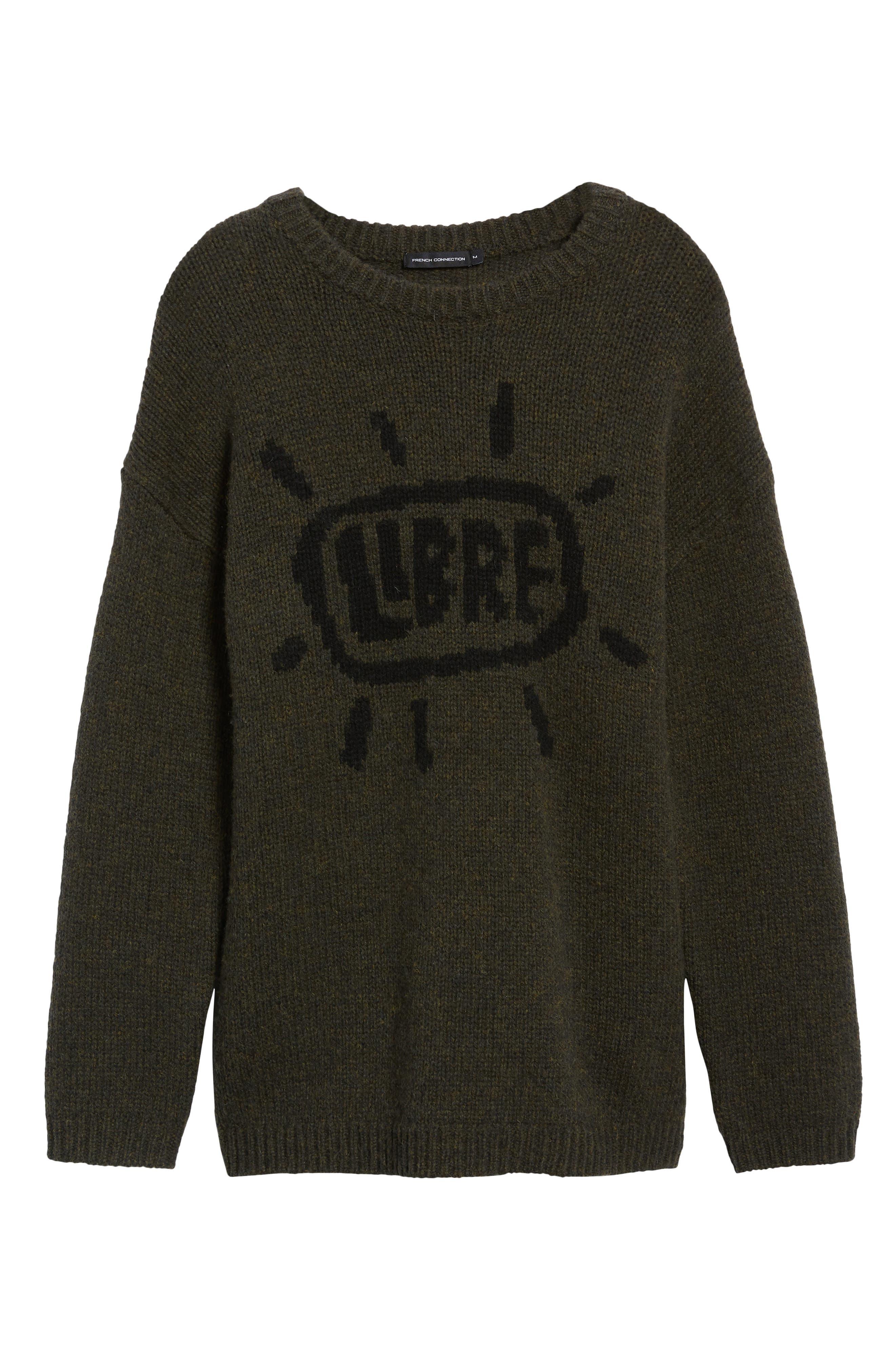 Free Regular Fit Shetland Wool Sweater,                             Alternate thumbnail 6, color,                             MIDNIGHT MOSS BLACK