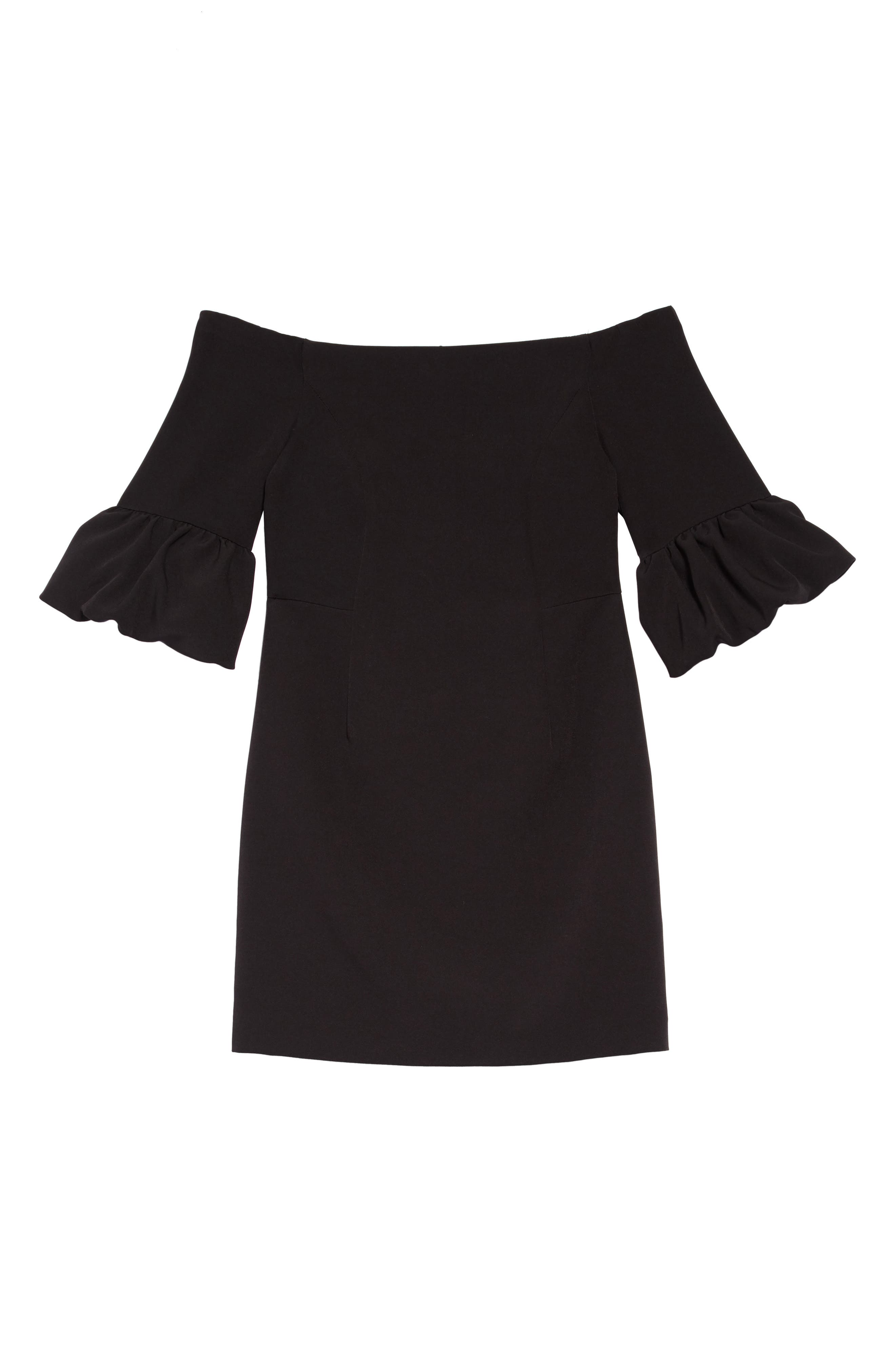 Samantha Ruffle Sleeve Dress,                         Main,                         color, BLACK