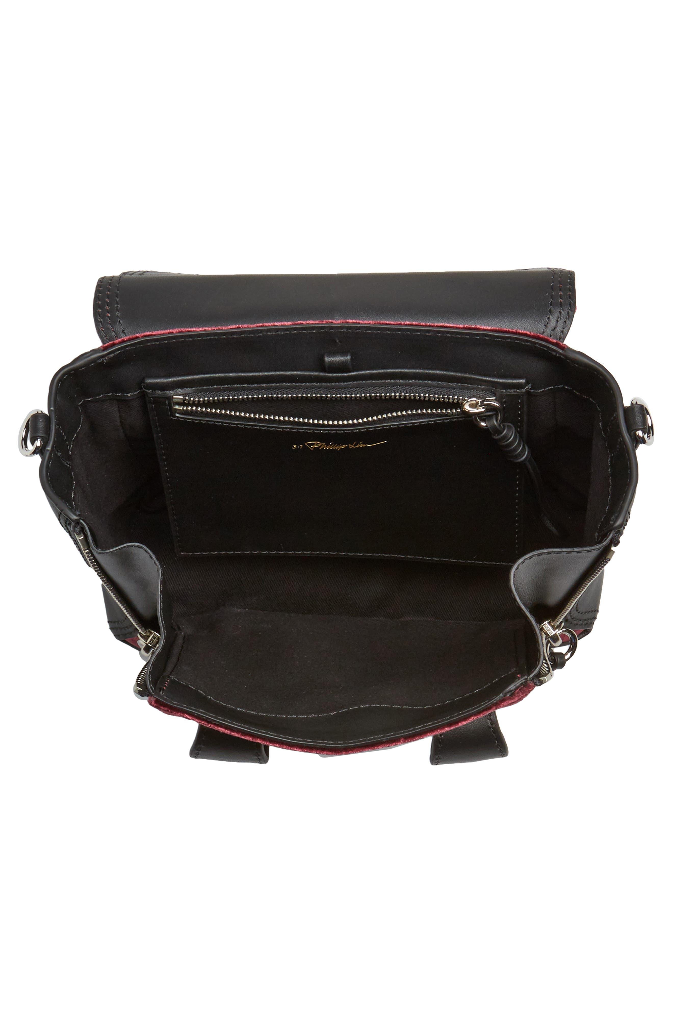 Mini Pashli Velvet & Leather Satchel,                             Alternate thumbnail 4, color,                             670