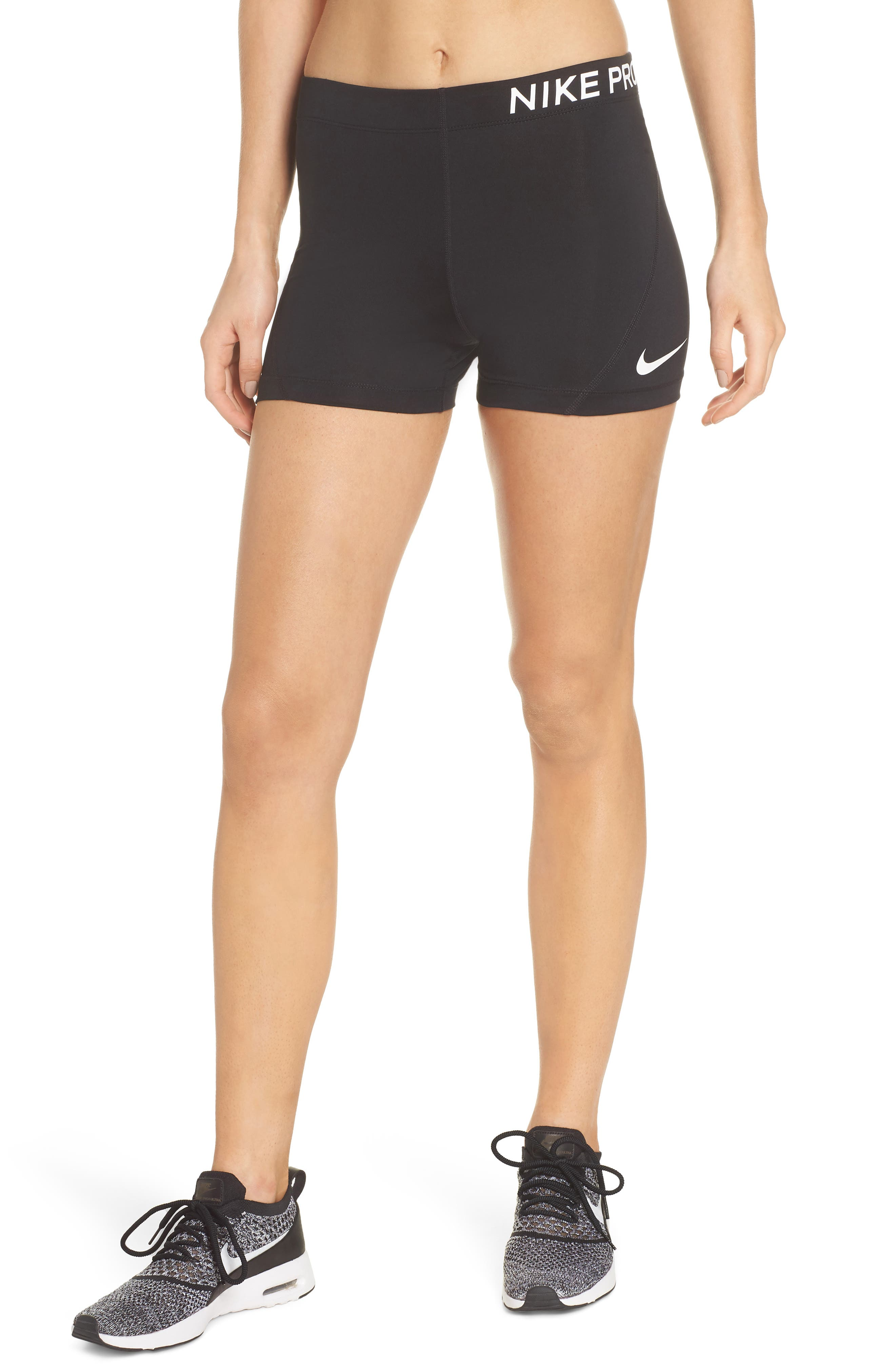 Pro Short Shorts,                             Main thumbnail 1, color,                             BLACK/ WHITE