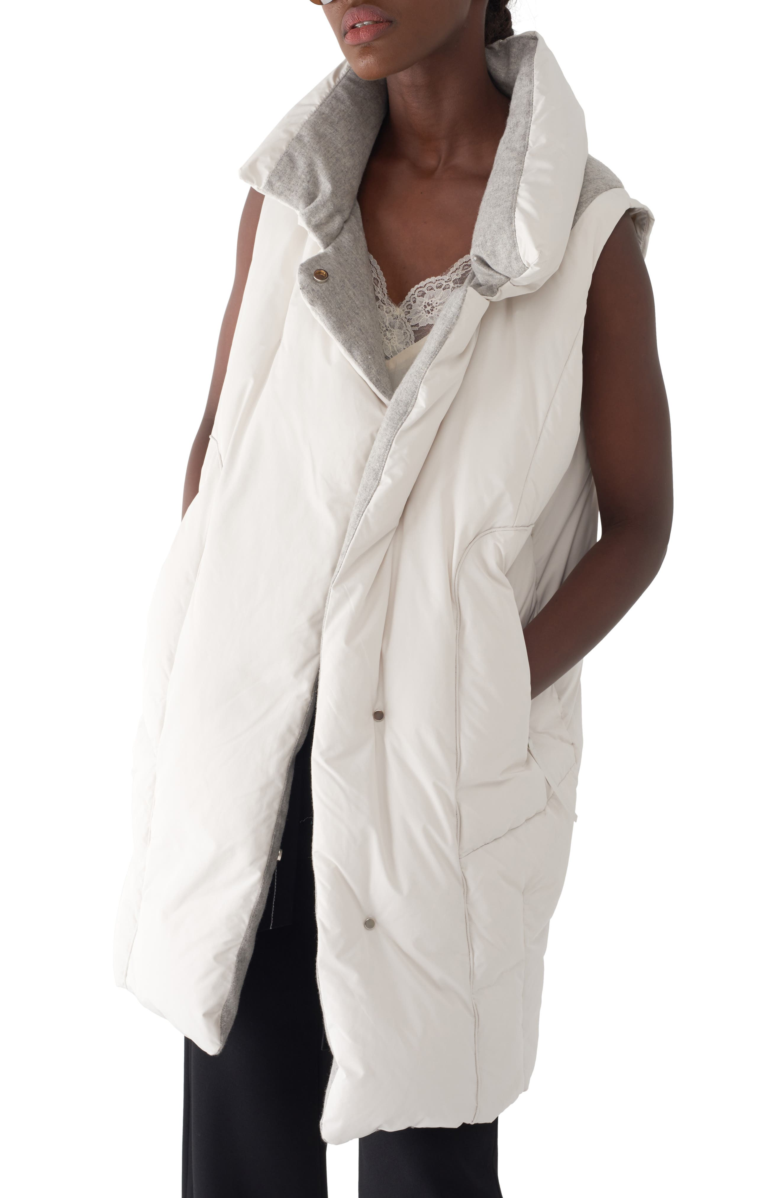 Elexa Long Quilted Down Vest,                         Main,                         color, BONE