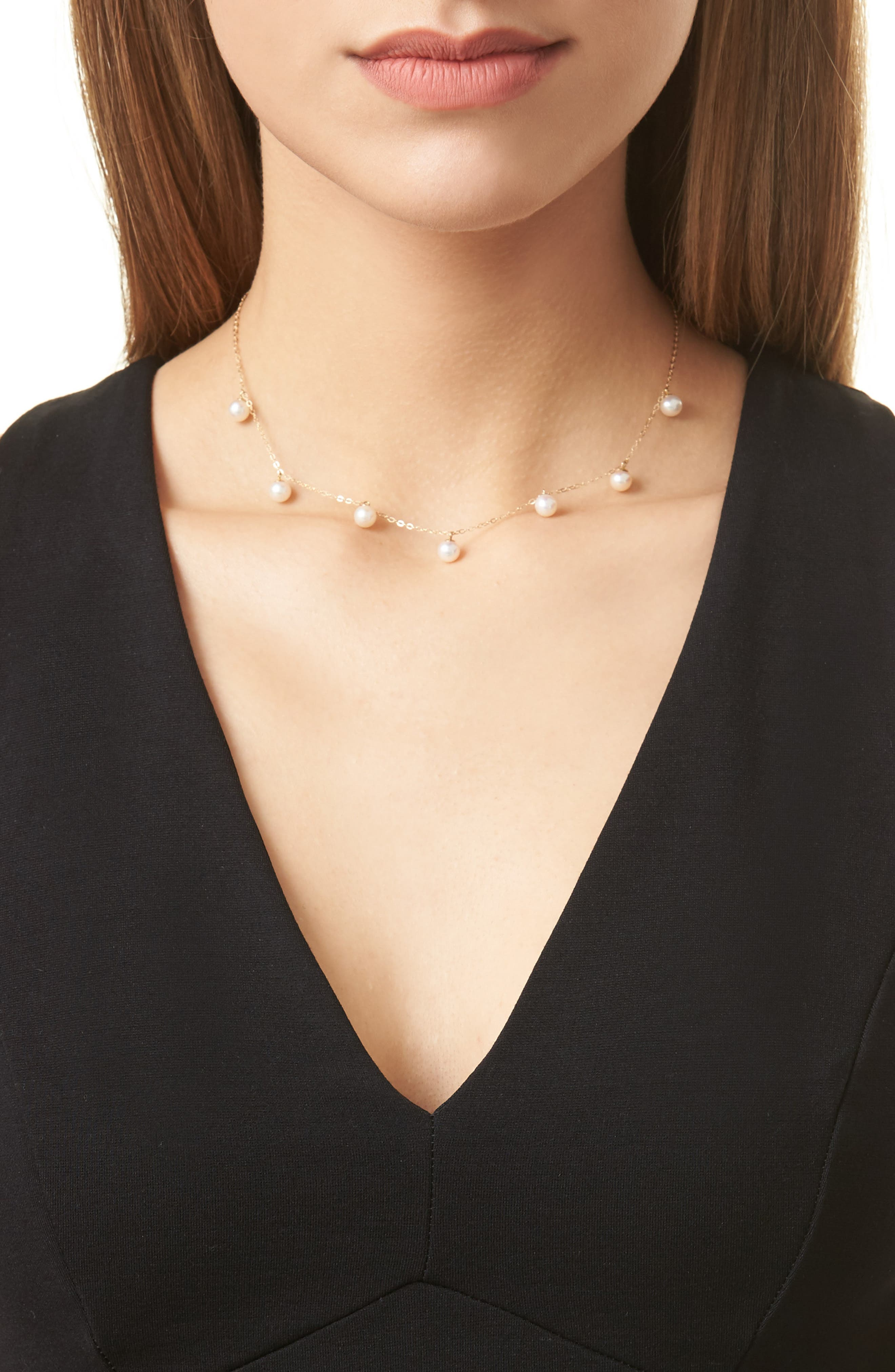 Pearl Collar Necklace,                             Alternate thumbnail 2, color,                             YELLOW GOLD/ PEARL