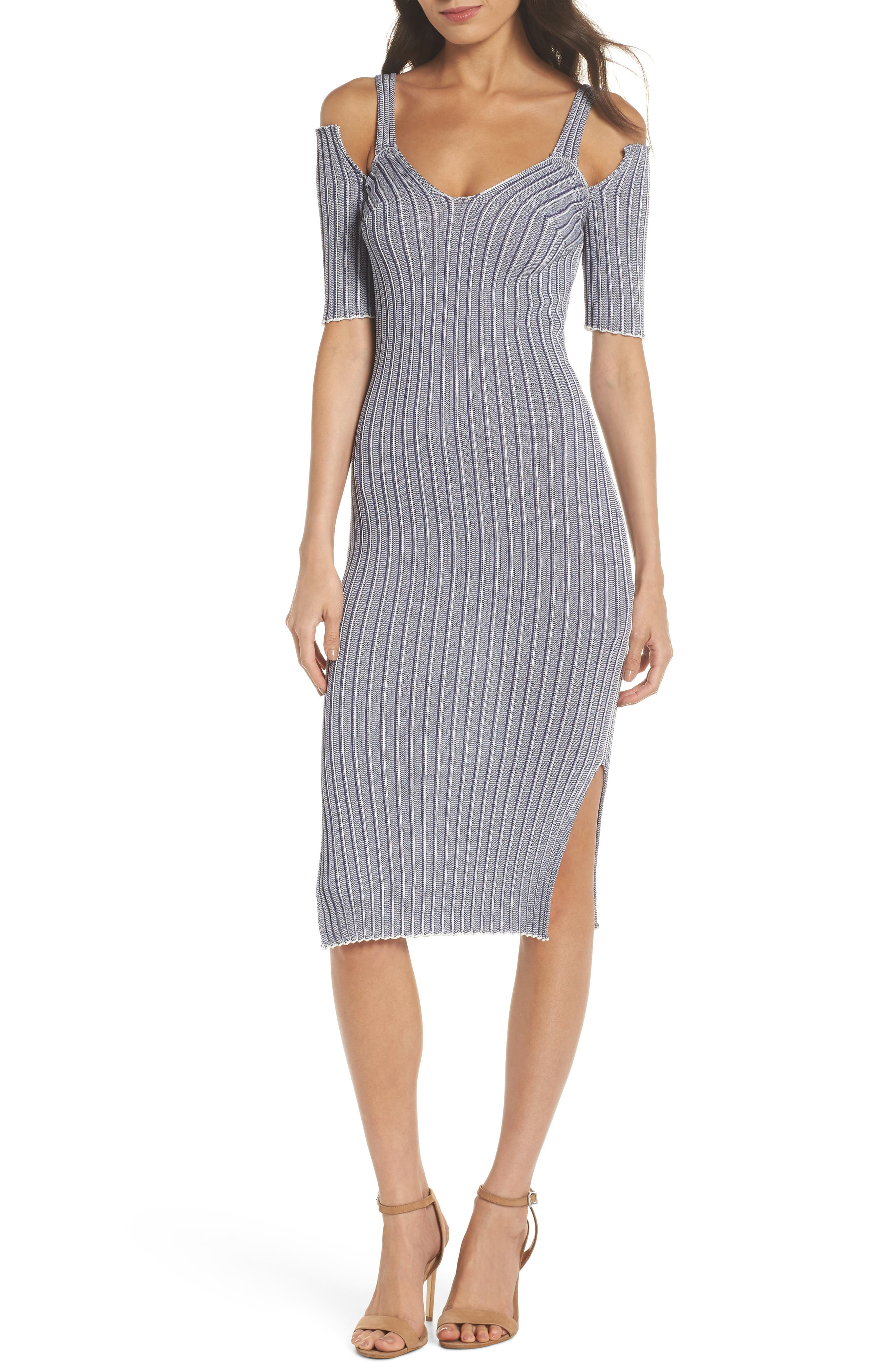 Cold Shoulder Ribbed Knit Body-Con Dress,                         Main,                         color, 020