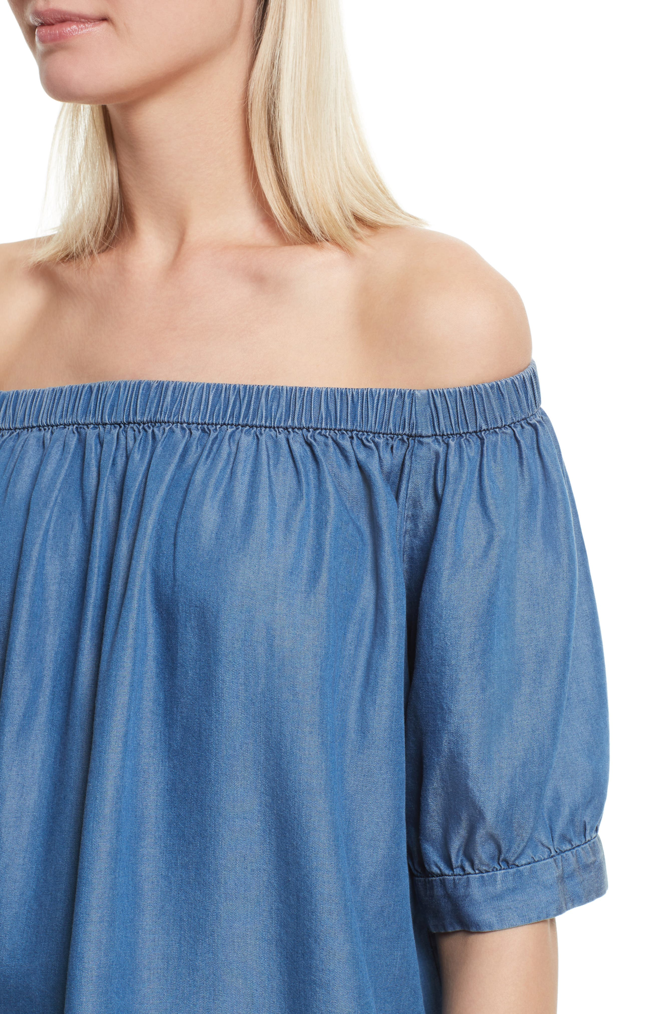 off the shoulder chambray top,                             Alternate thumbnail 4, color,                             434