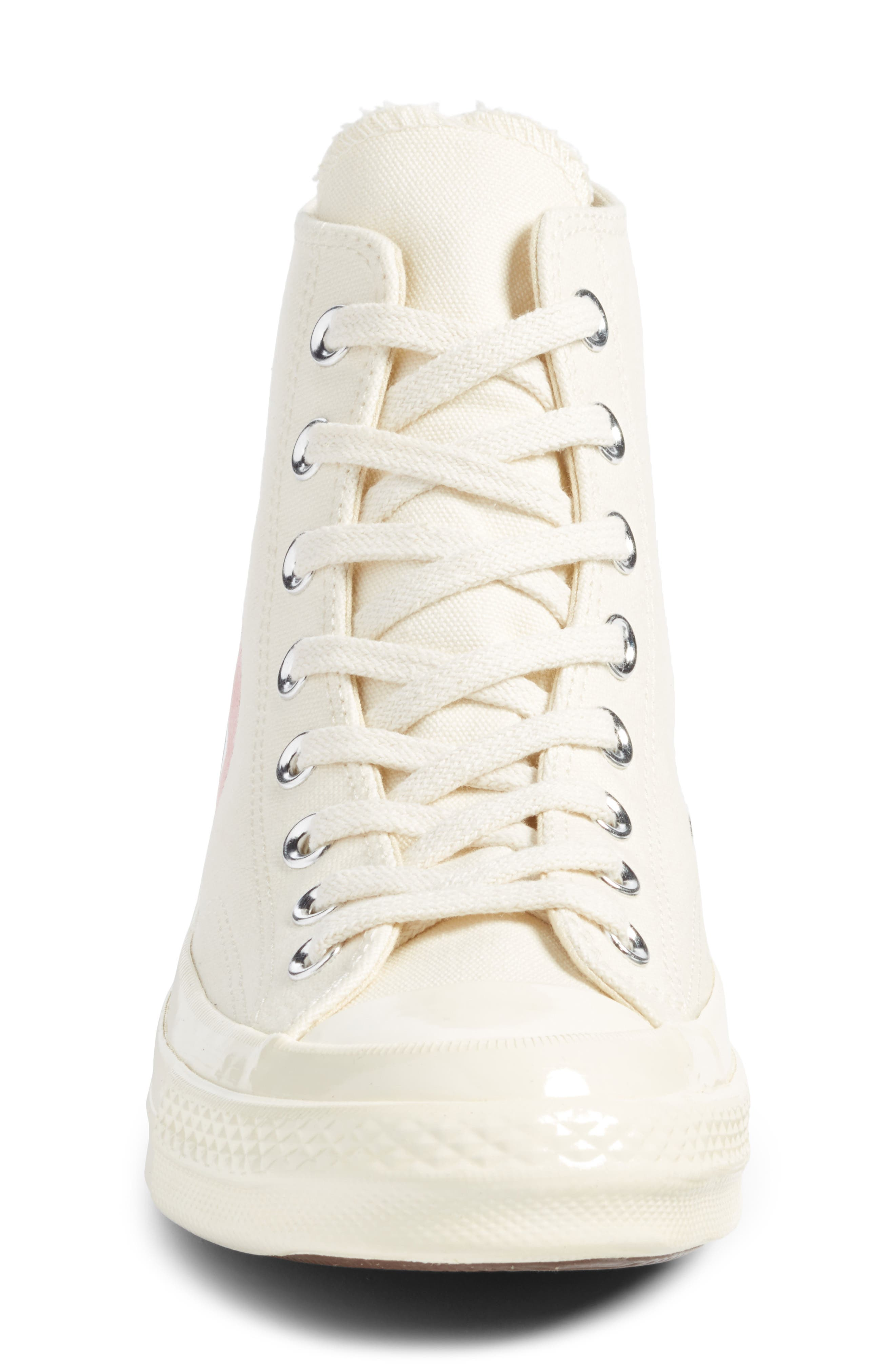 COMME DES GARÇONS,                             PLAY x Converse Chuck Taylor<sup>®</sup> Hidden Heart High Top Sneaker,                             Alternate thumbnail 4, color,                             WHITE CANVAS