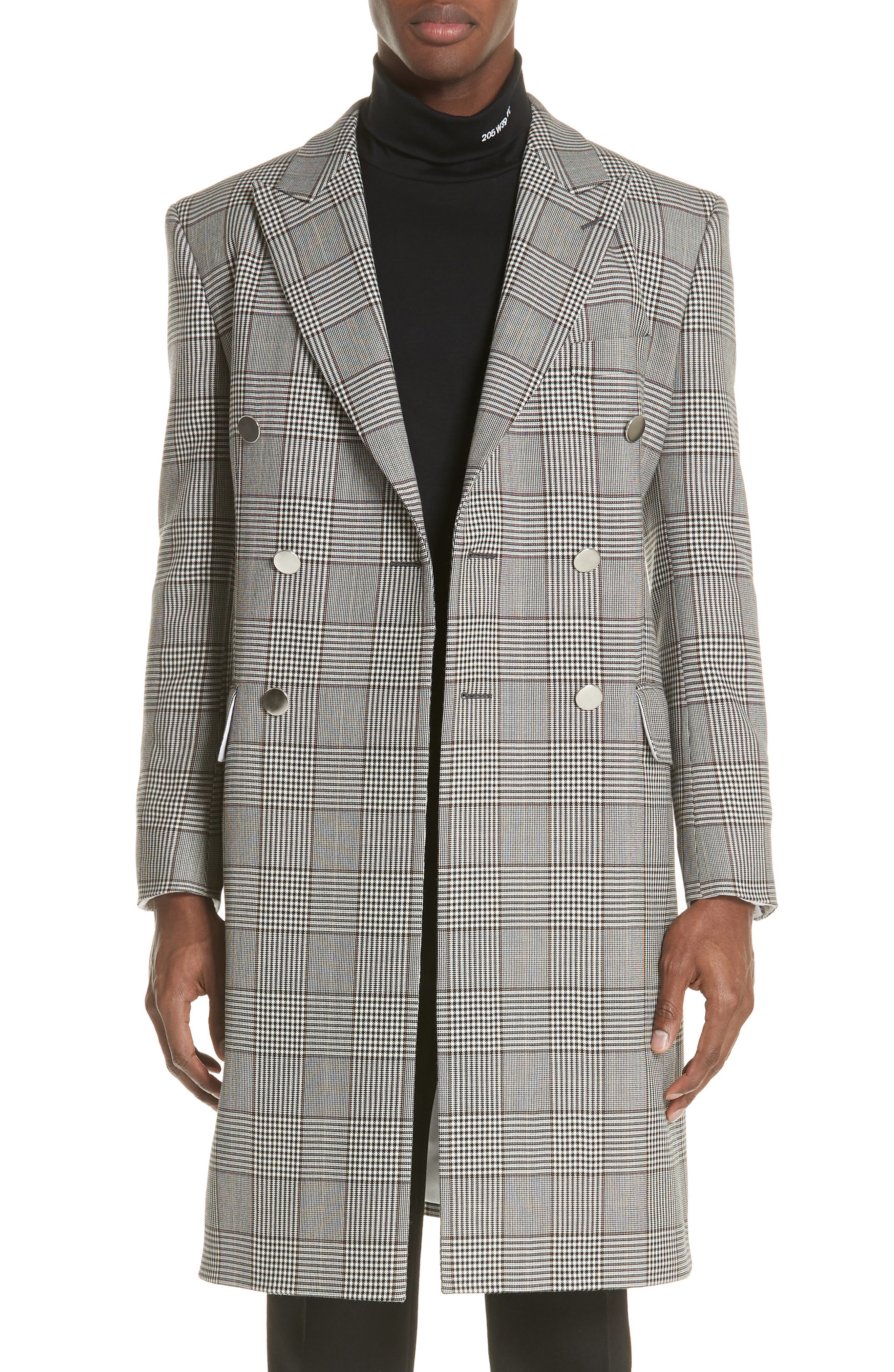 Plaid Overcoat,                             Main thumbnail 1, color,                             BROWN