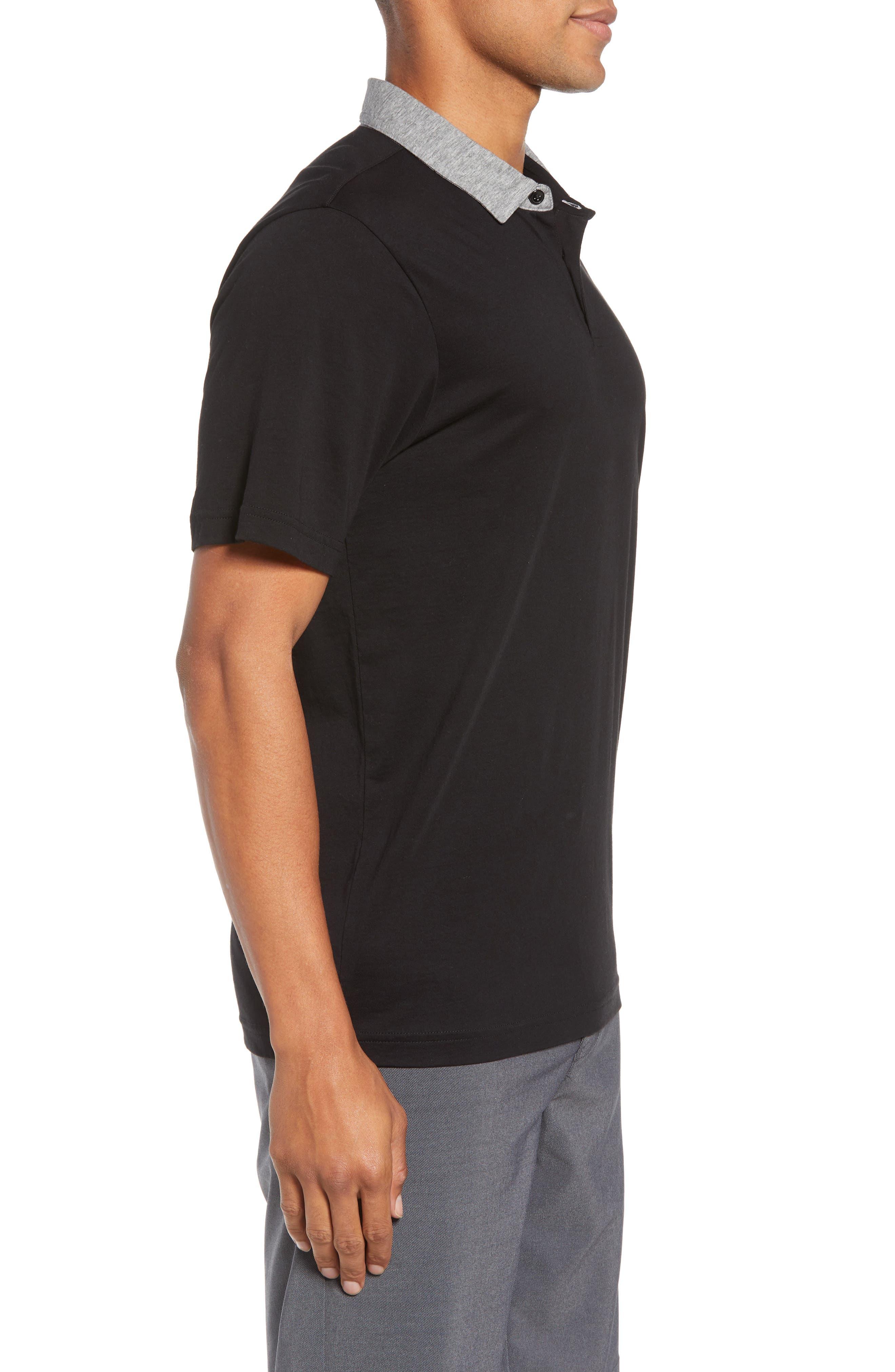 Rupert Short Sleeve Regular Fit Polo Shirt,                             Alternate thumbnail 3, color,                             BLACK