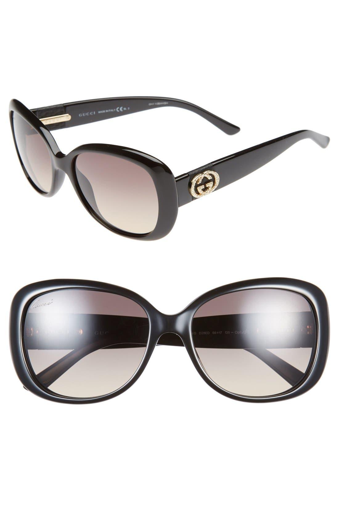 56mm Swarovski Crystal Sunglasses, Main, color, 001