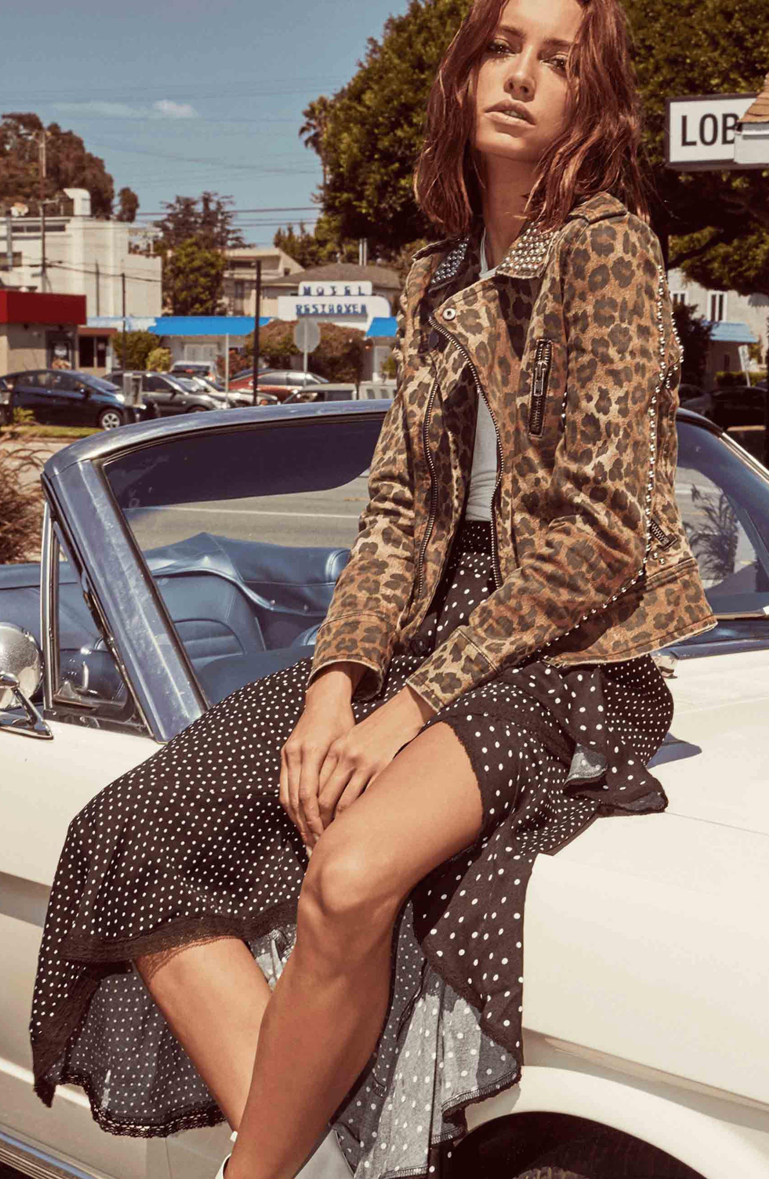 Studded Leopard Print Moto Jacket,                             Alternate thumbnail 7, color,                             200