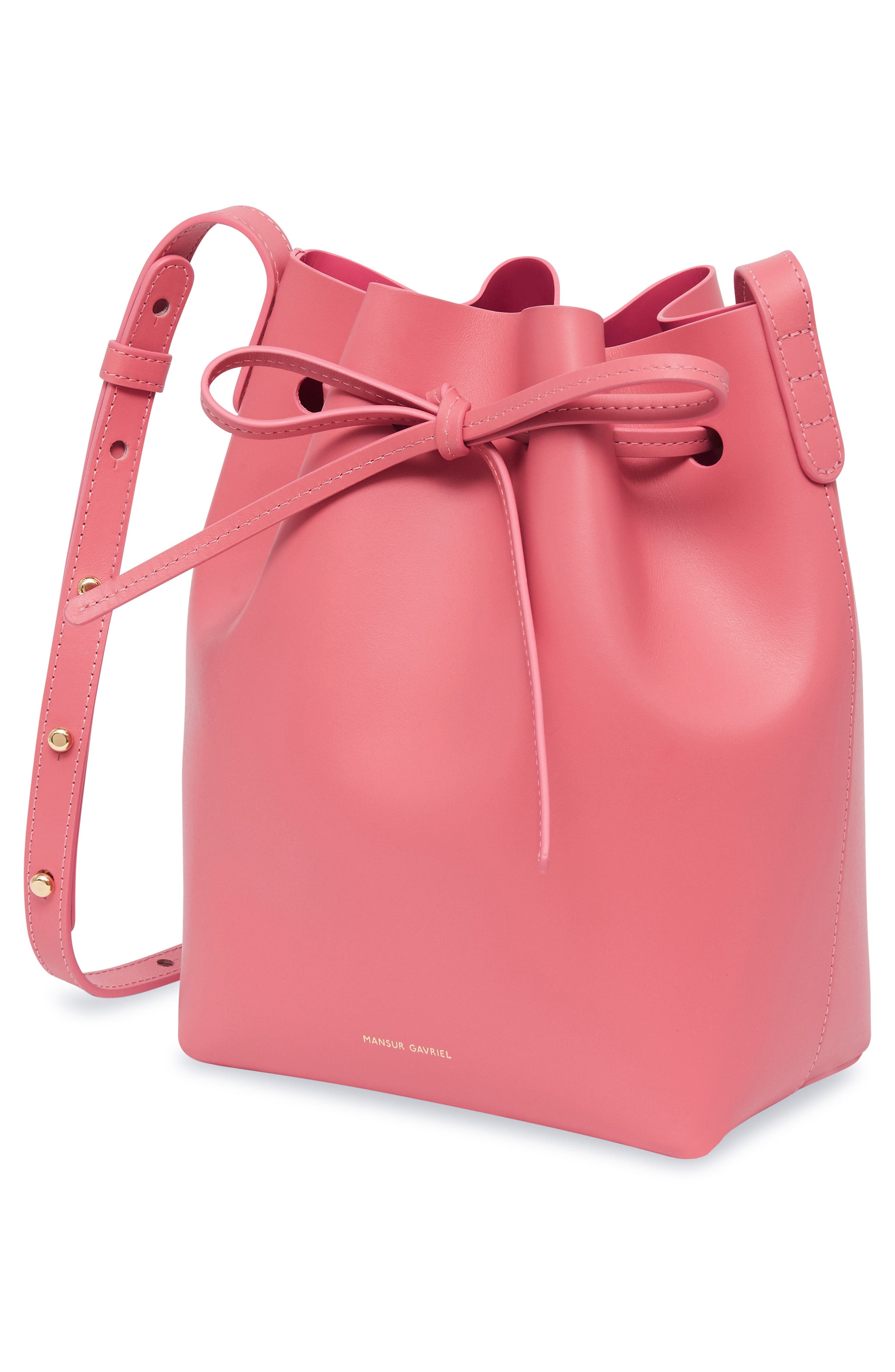 Mini Leather Bucket Bag,                             Alternate thumbnail 3, color,                             DOLLY