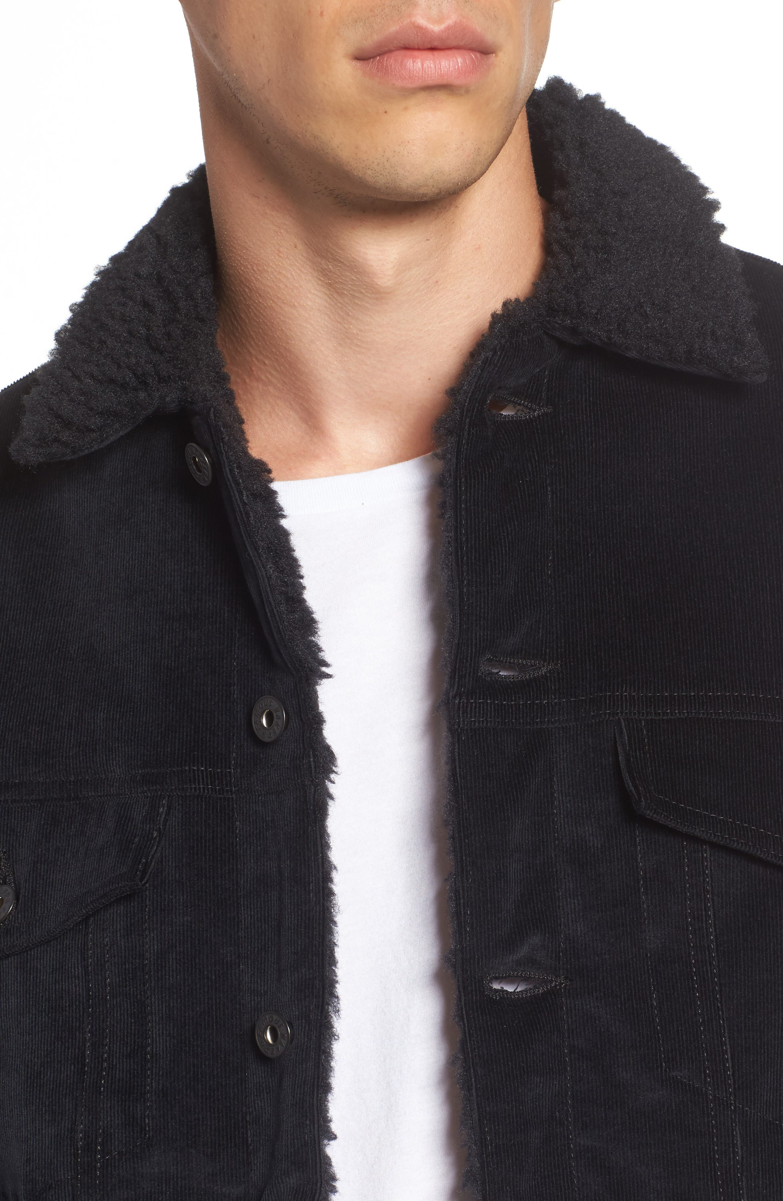 Corduroy Jacket with Faux Shearling Trim,                             Alternate thumbnail 4, color,                             001