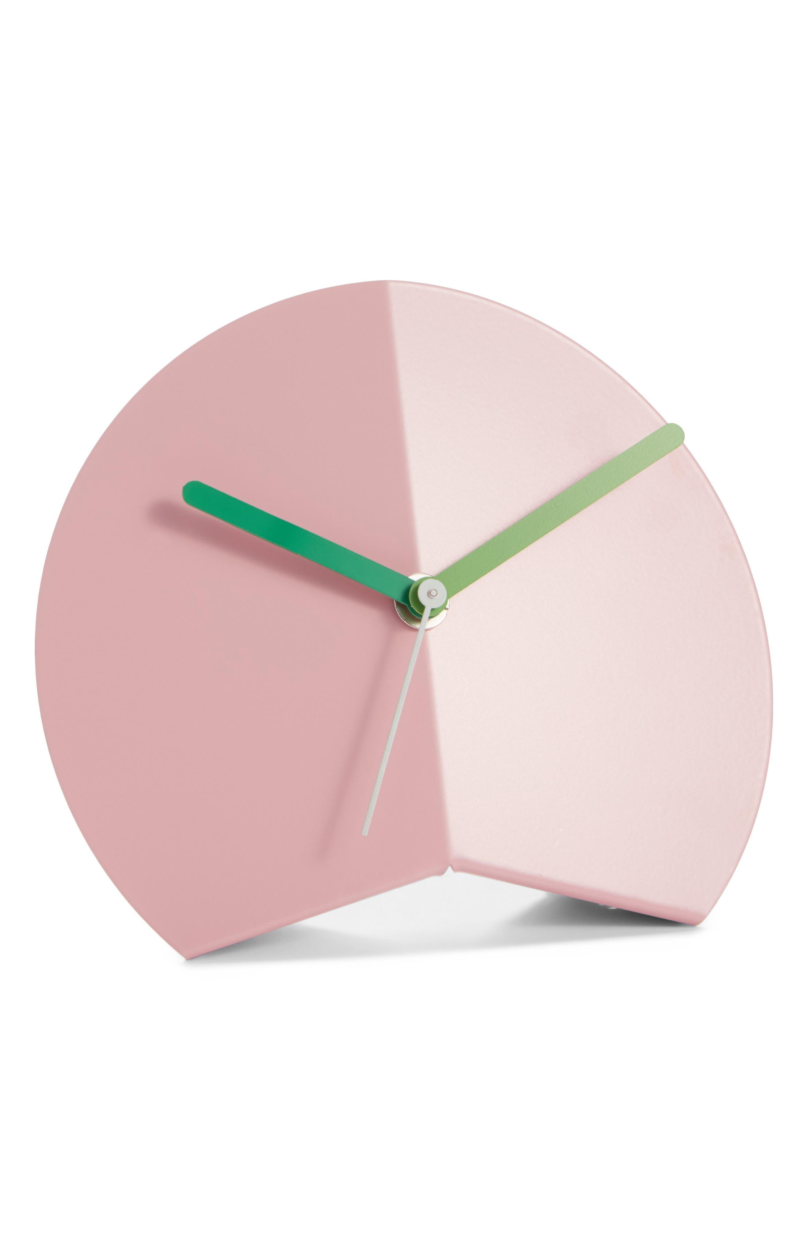 Mountain Fold Desk Clock,                         Main,                         color, PINK