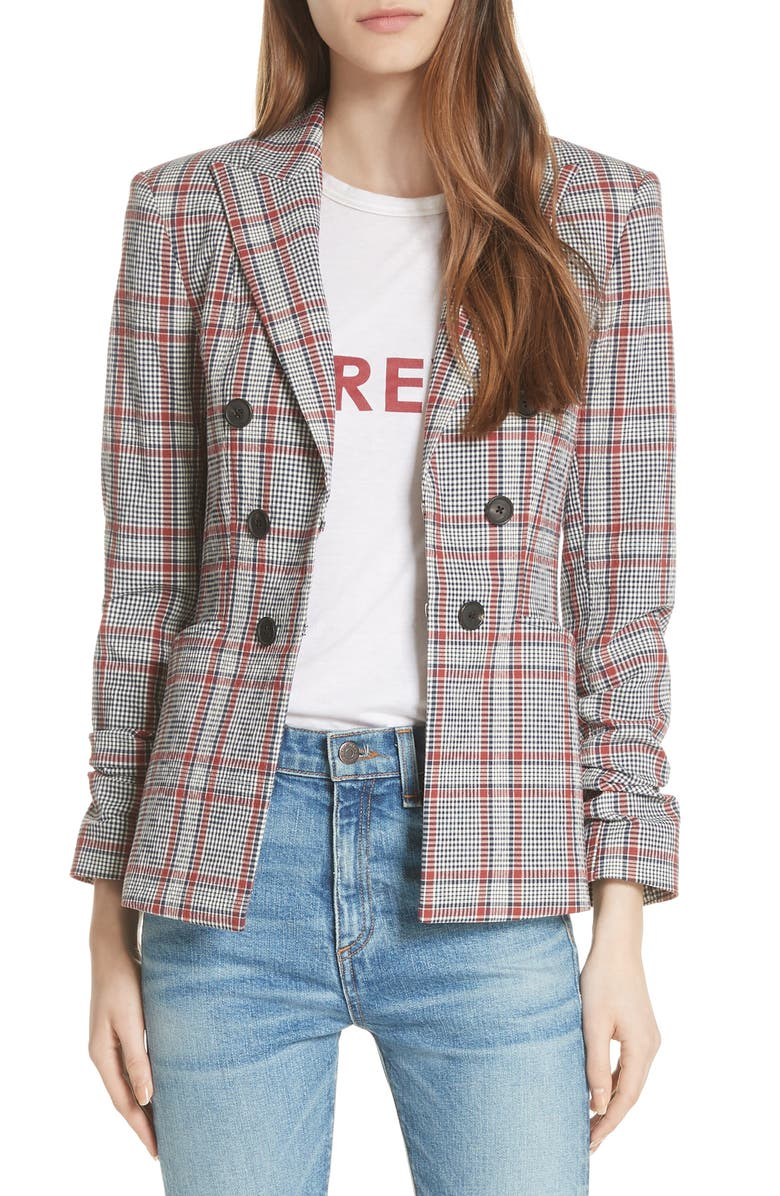 Caldwell Plaid Dickey Jacket,                         Main,                         color, NAVY/ RUST