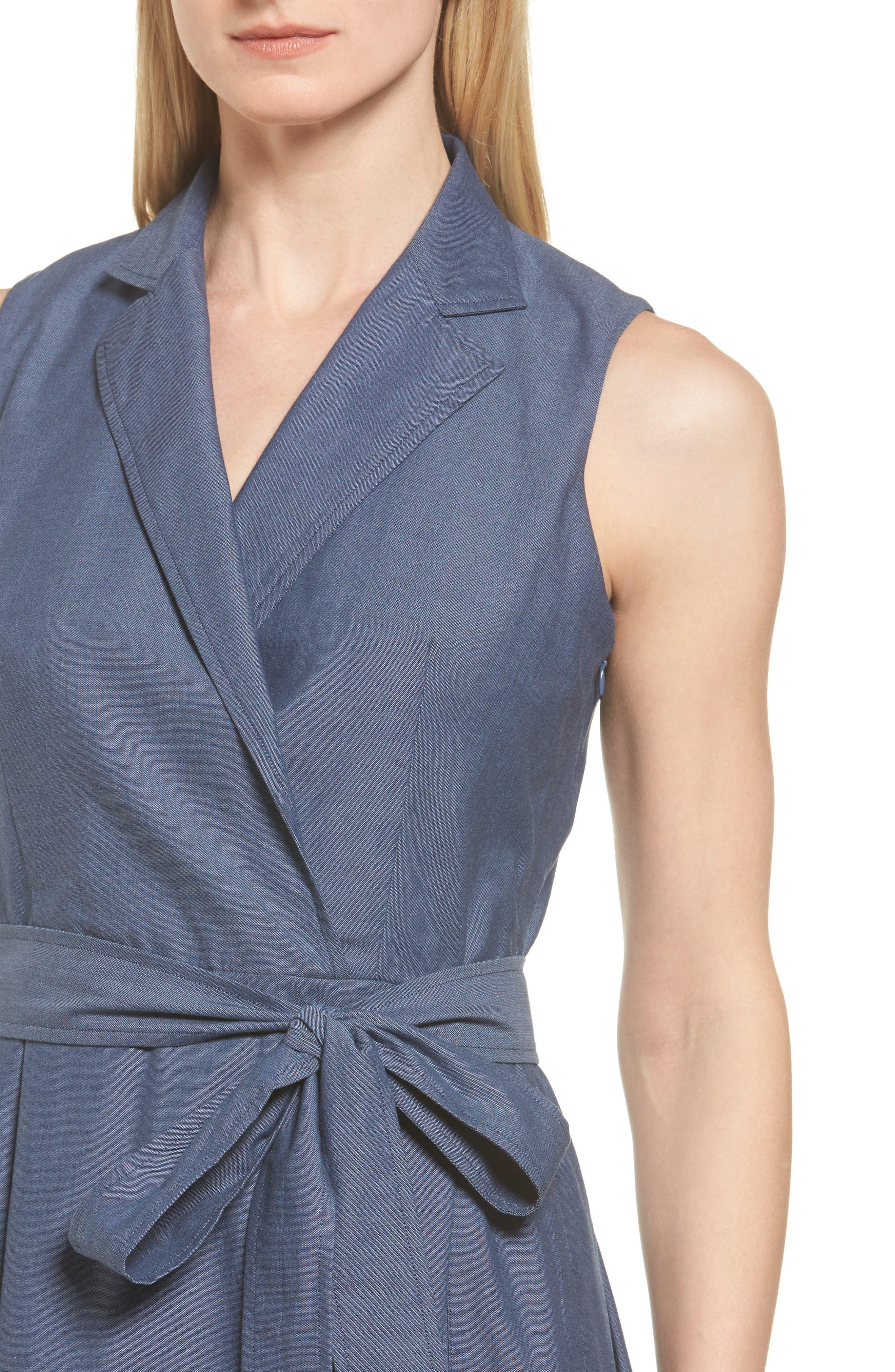 Denim Faux Wrap Dress,                             Alternate thumbnail 4, color,