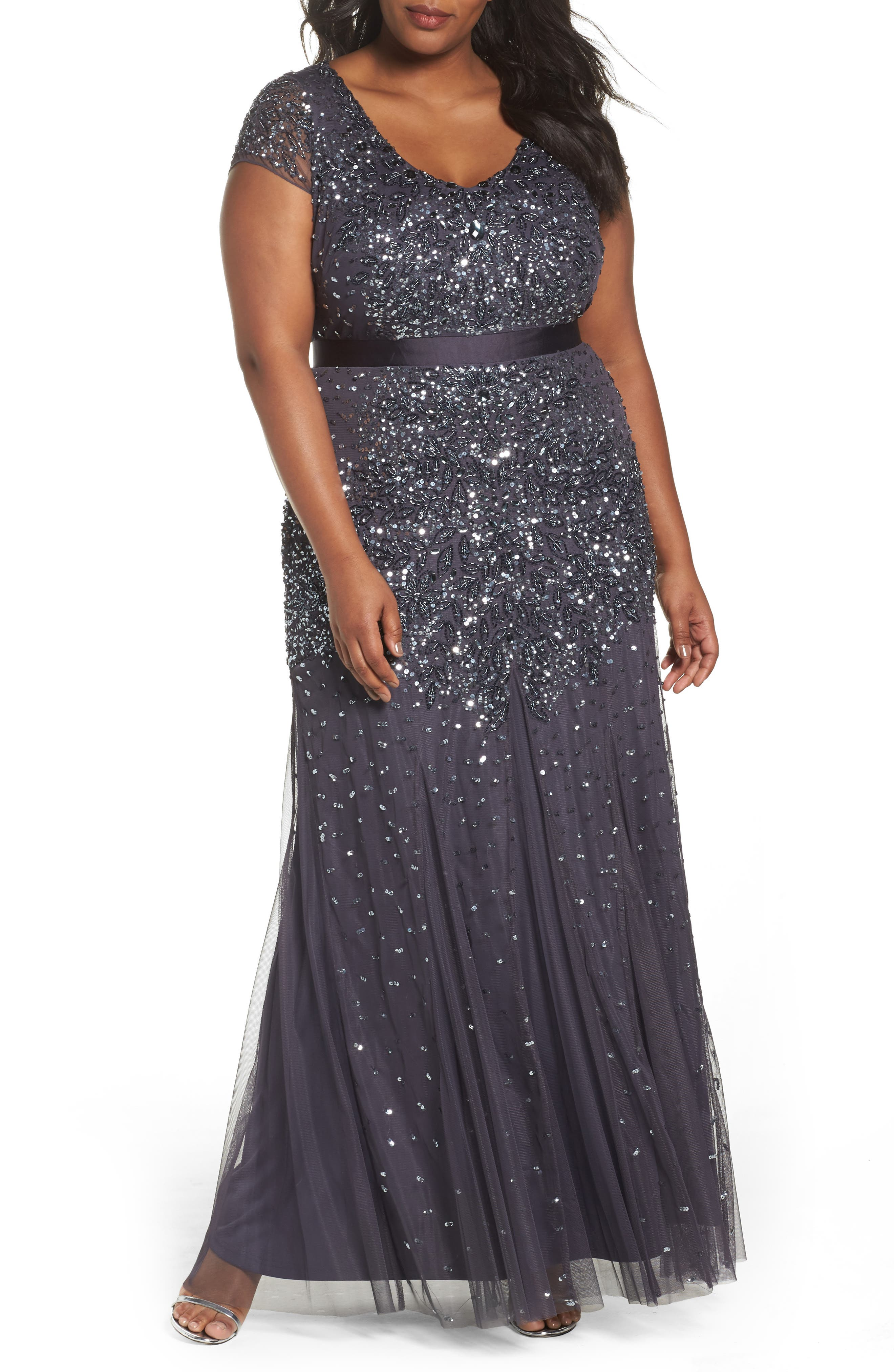 Beaded V-Neck Gown,                             Alternate thumbnail 2, color,                             GUNMETAL