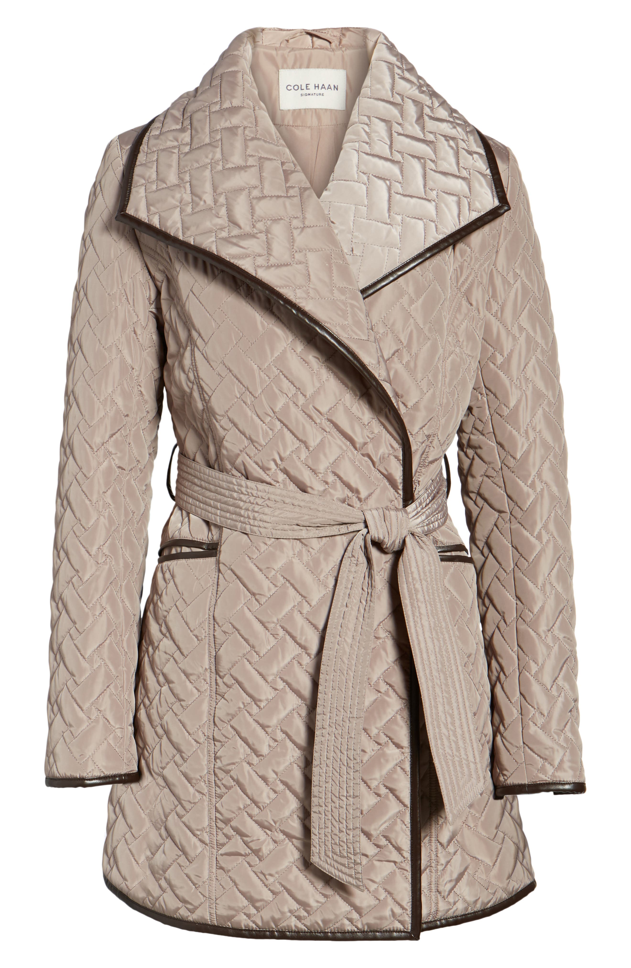 Water Resistant Quilted Wrap Coat,                             Alternate thumbnail 5, color,                             284