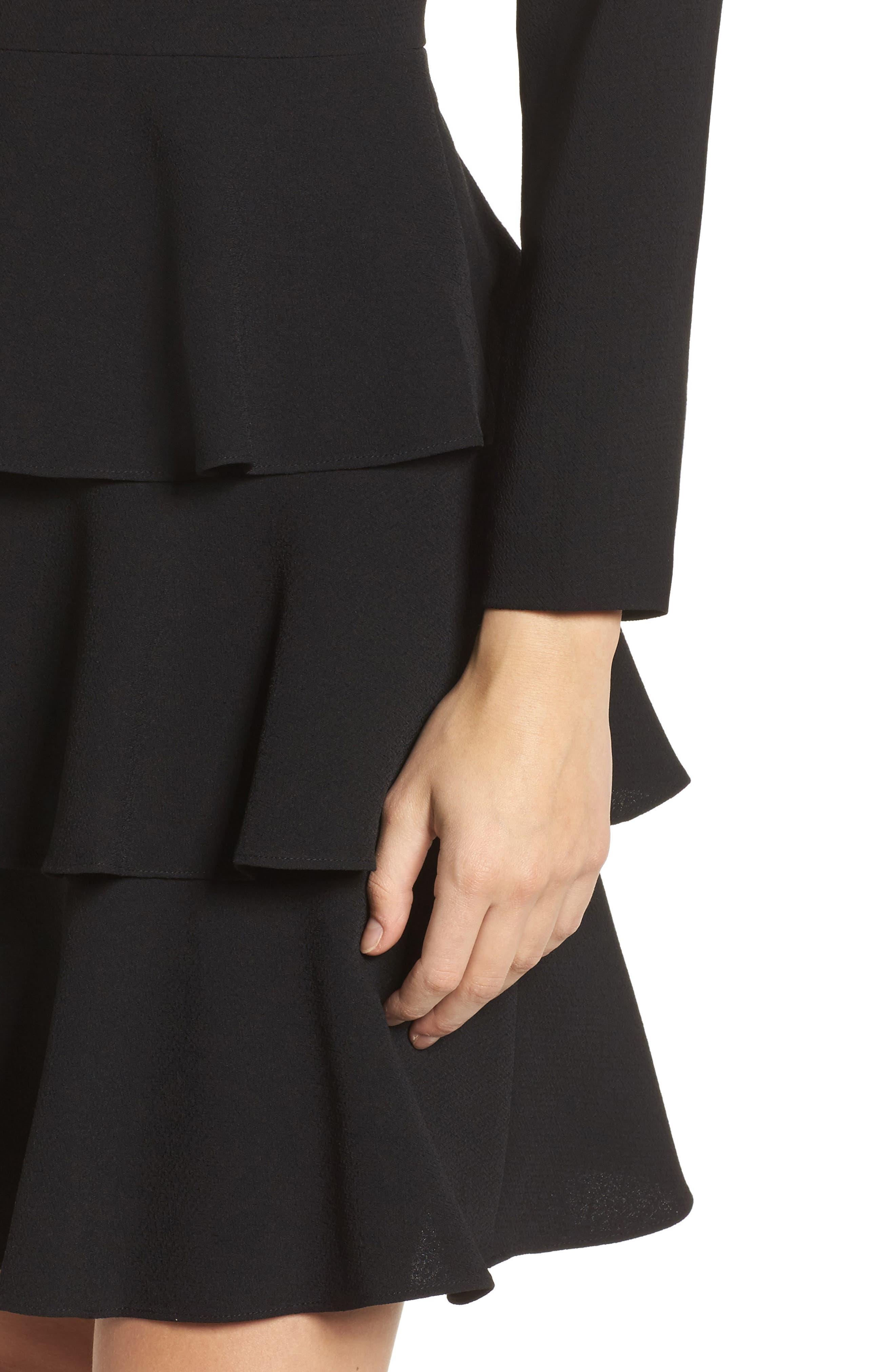 Ruffle Fit & Flare Dress,                             Alternate thumbnail 4, color,                             001