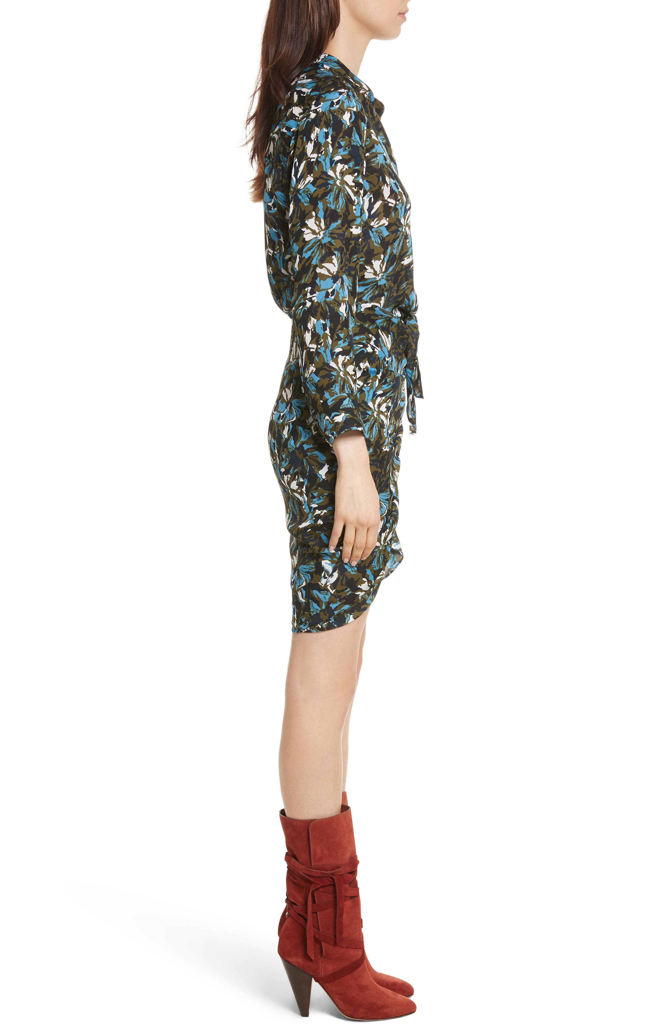 Georgina Floral Print Silk Dress,                             Alternate thumbnail 3, color,                             414