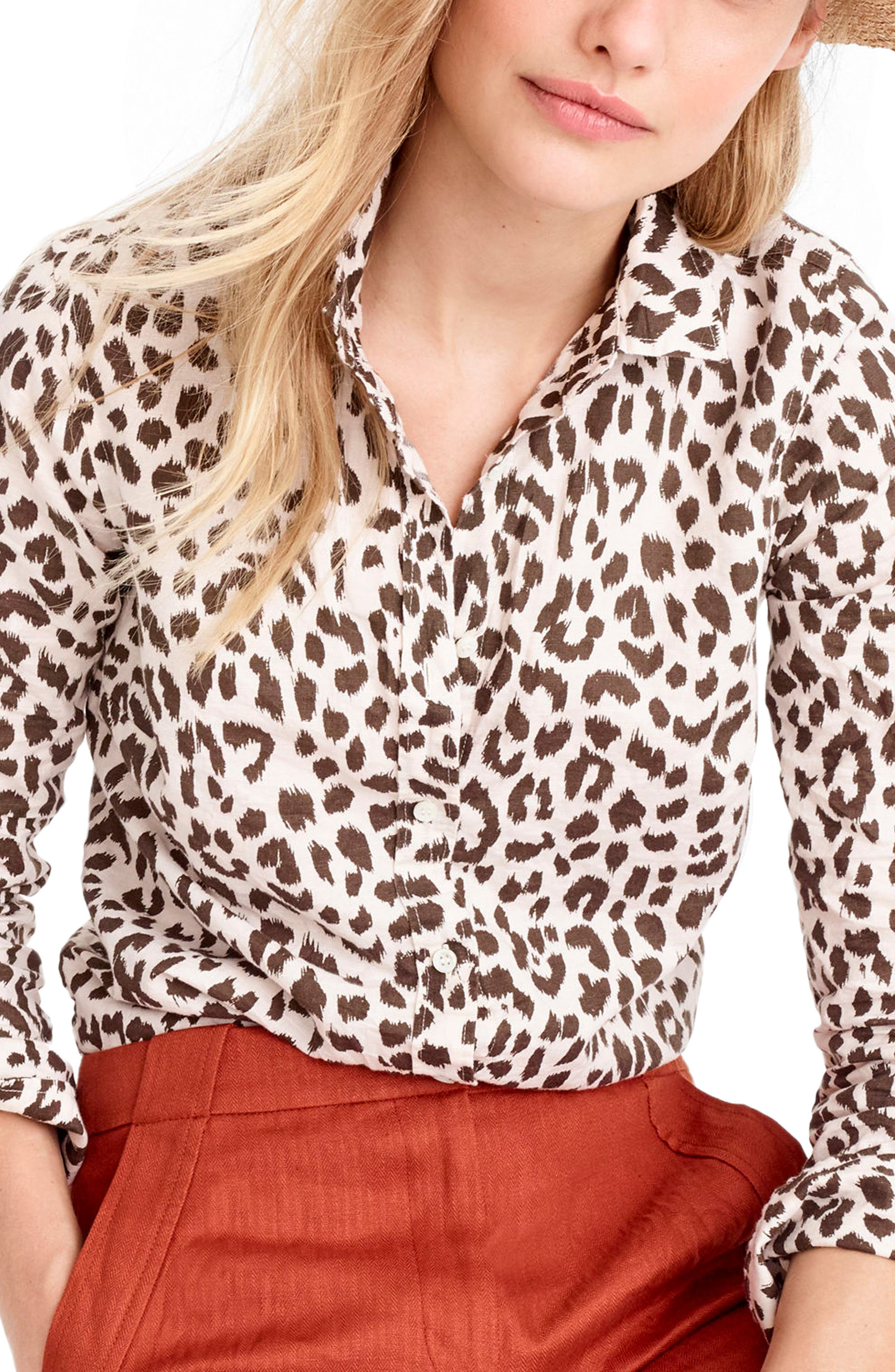 J.CREW,                             Perfect Leopard Print Linen & Coton Shirt,                             Main thumbnail 1, color,                             900