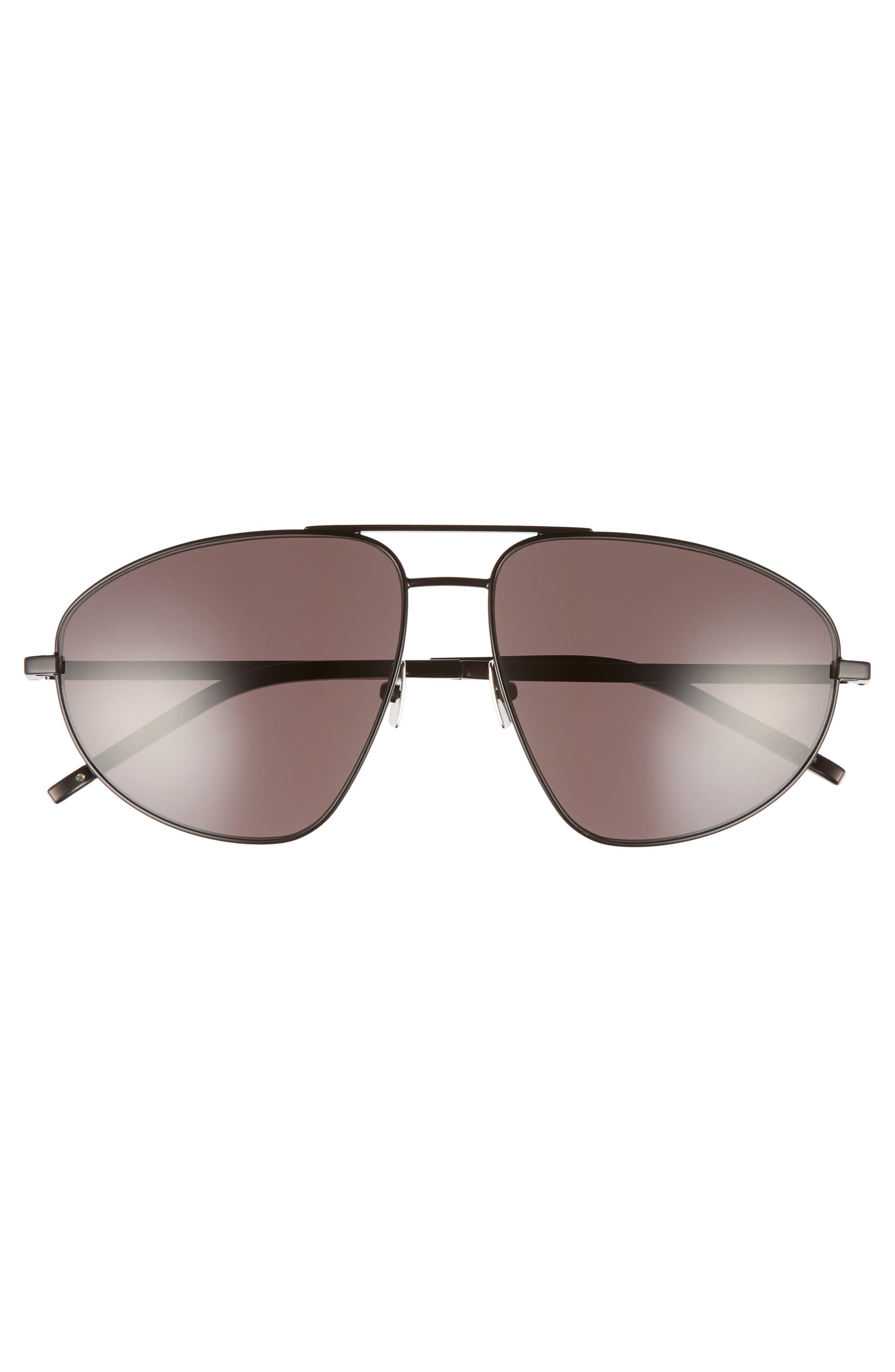 SL 211 60mm Aviator Sunglasses,                             Alternate thumbnail 2, color,                             BLACK