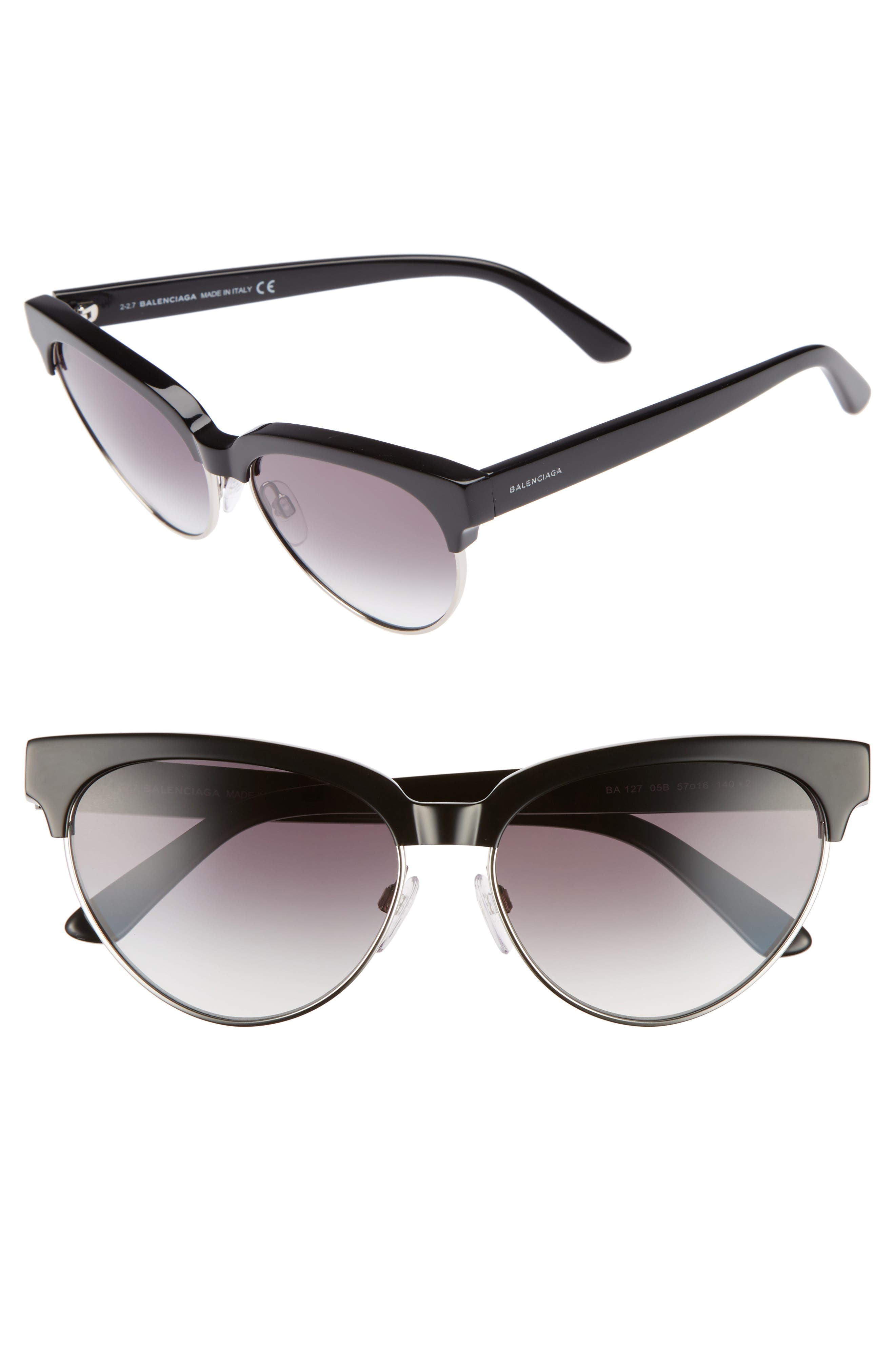 57mm Gradient Cat Eye Sunglasses,                             Main thumbnail 1, color,                             001